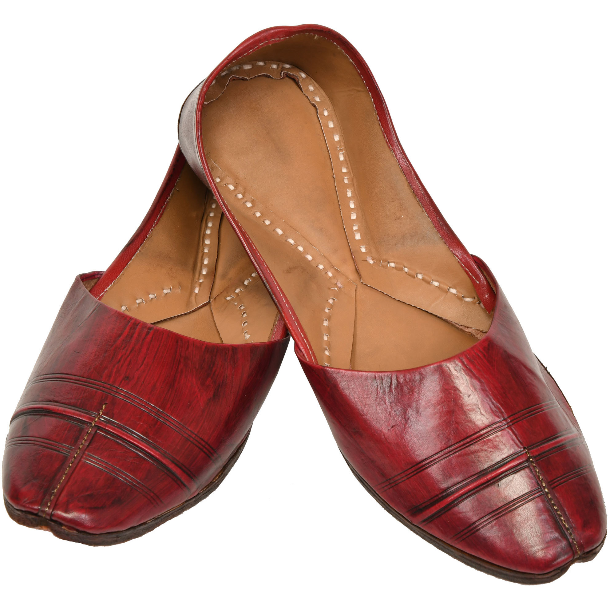 Tawny-Port Mojaris for Men with Stripes