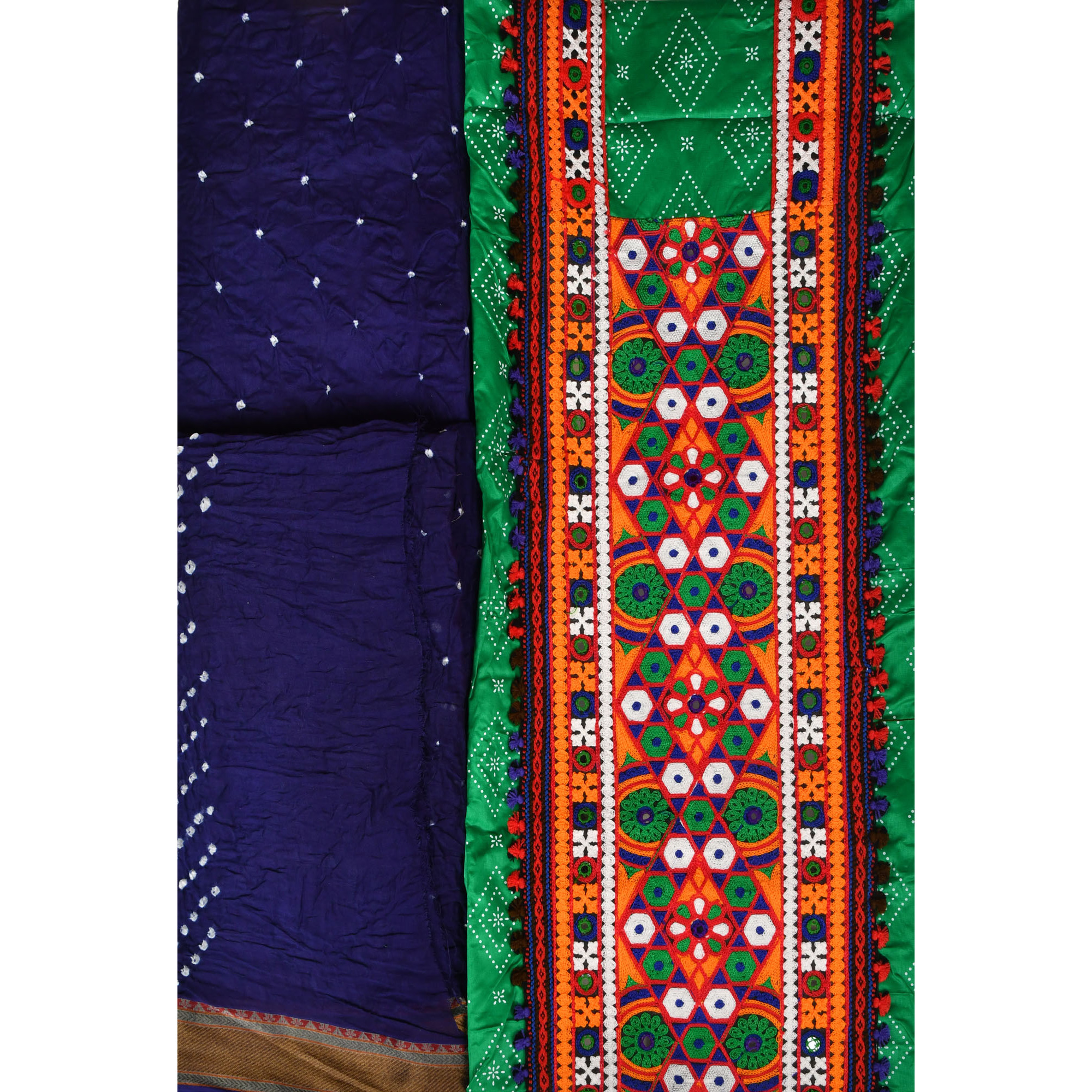 Salwar Kameez Fabric with Ari-Embroidery and Mirrors