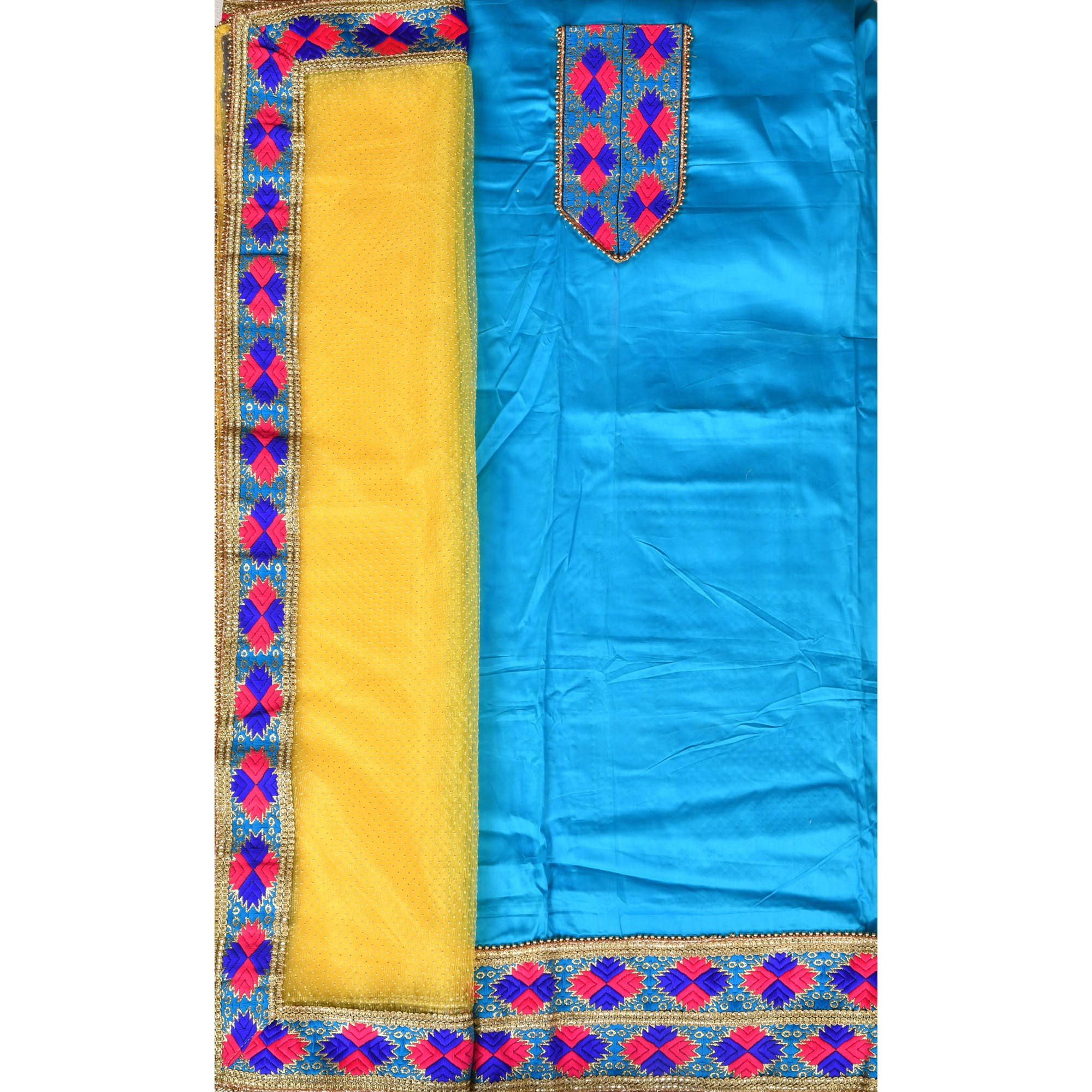 Cyan-Blue and Yellow Phulkari Salwar Kameez Fabric from Punjab with Embroidered Patches and Net Dupatta