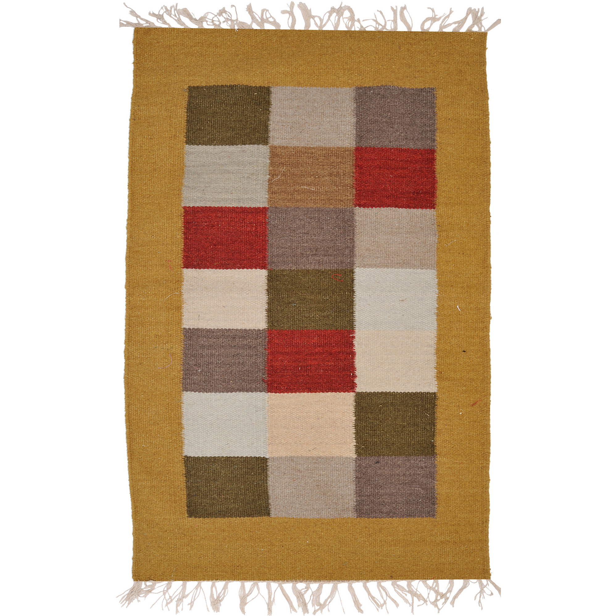 Multicolor Dhurrie from Sitapur with Woven Checks