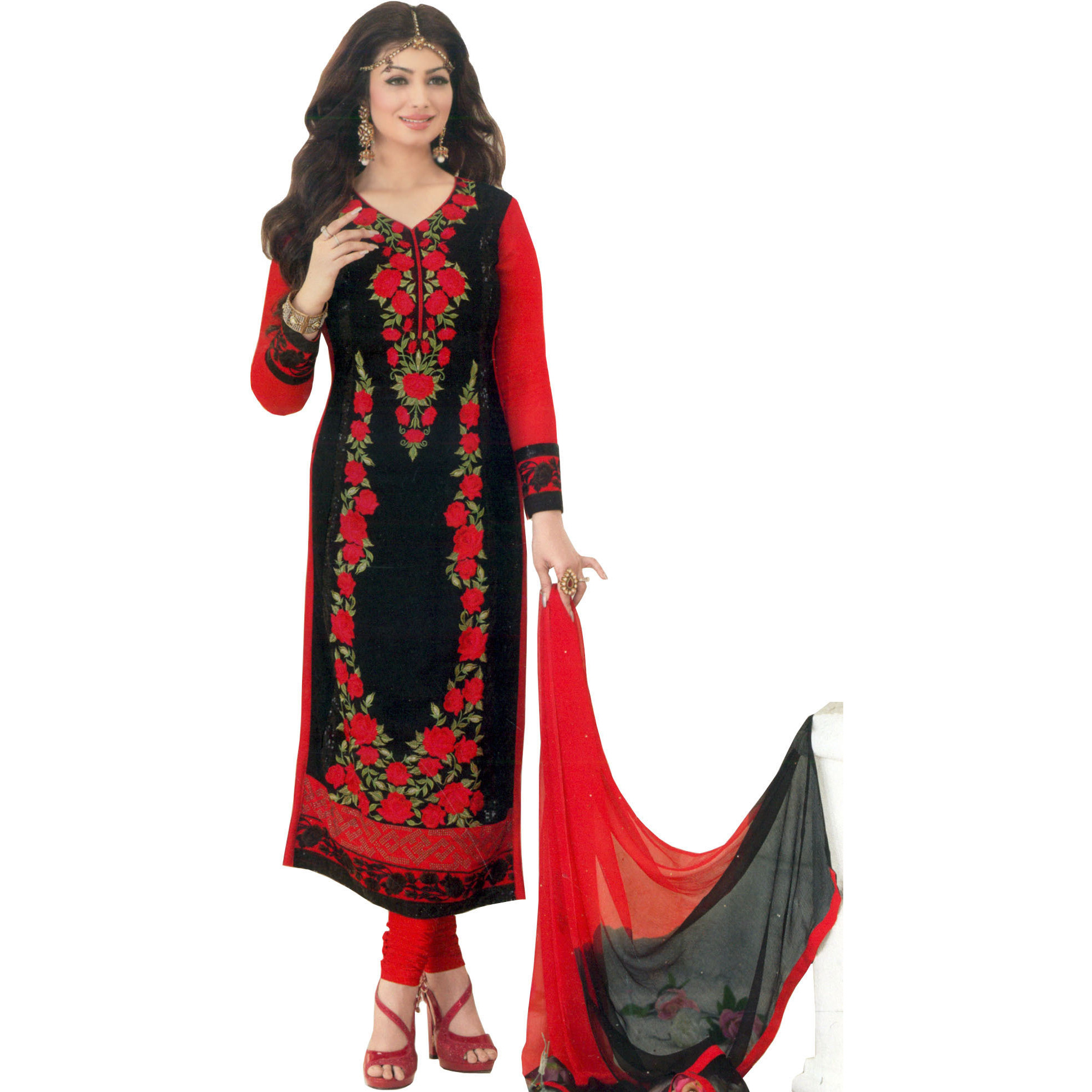 Black and Red Ayesha Long Choodidaar Kameez Suit with Embroidered Roses and Black Sequins