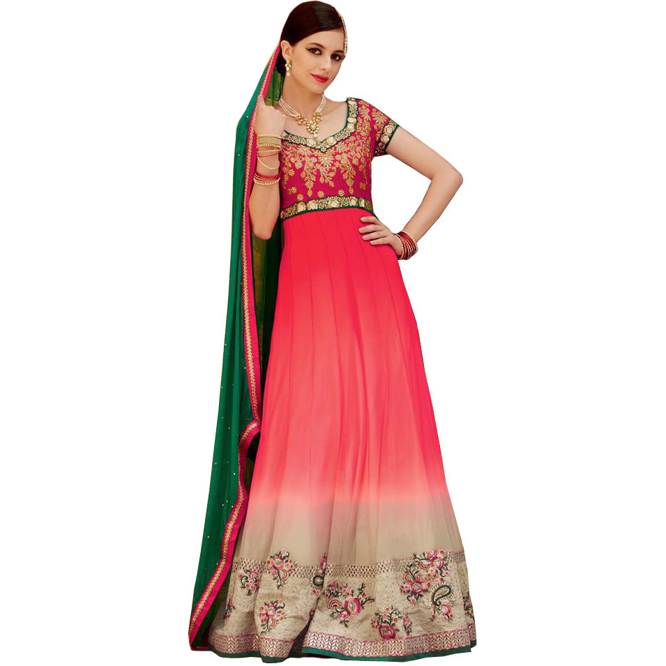 Pink and Cream Double-Shaded Wedding Anarkali Suit with Floral-Embroidery and Crystals