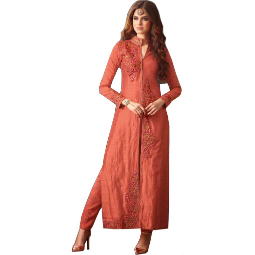 Burnt-Coral Long Designer Suit with Embroidered-Roses and Crystals