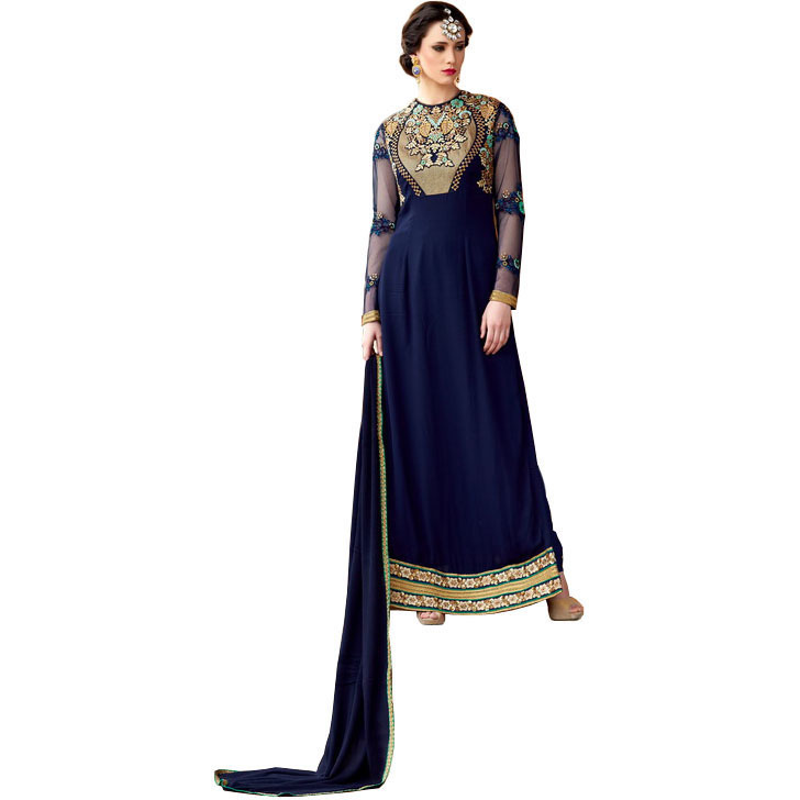 Twilight-Blue Floor Length Choodidaar Kameez Suit with Zari-Embroidery and Sequins