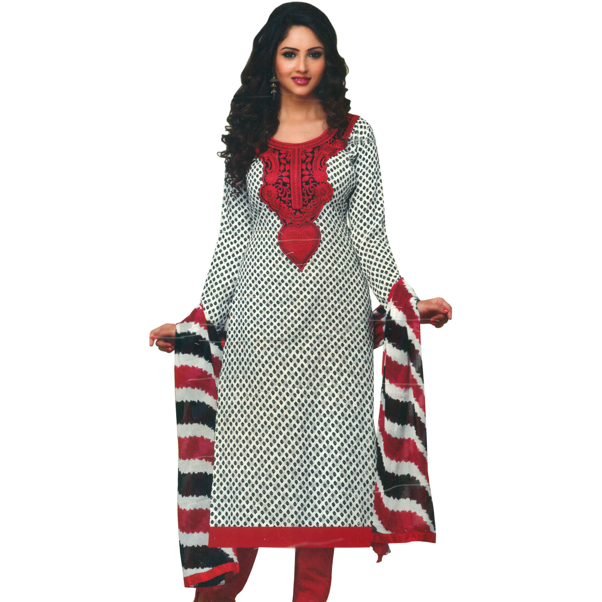 White and Red Choodidaar Kameez Suit with Printed Bootis and Embroidered Patch on Neck