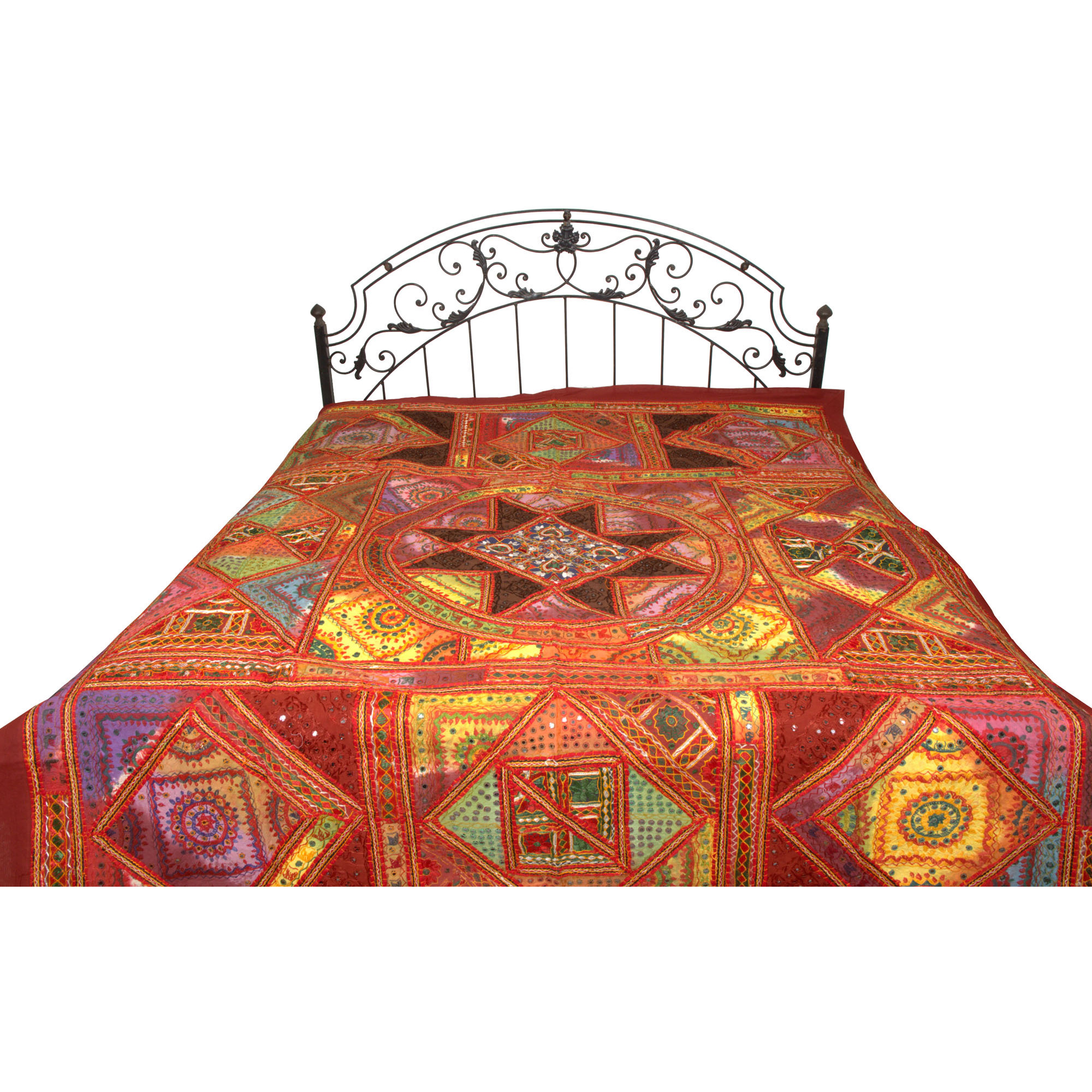 Multicolor Mandala Bedspread from Kutch with Embroidered Patches and Mirrors