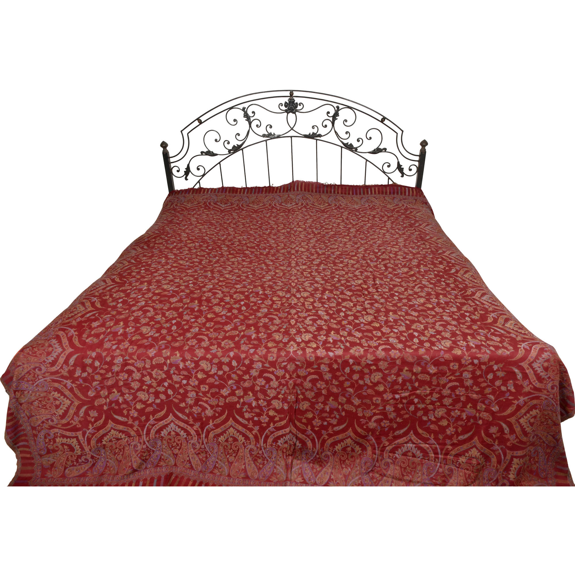 Maroon Jamawar Bedspread with Floral Kani Weave