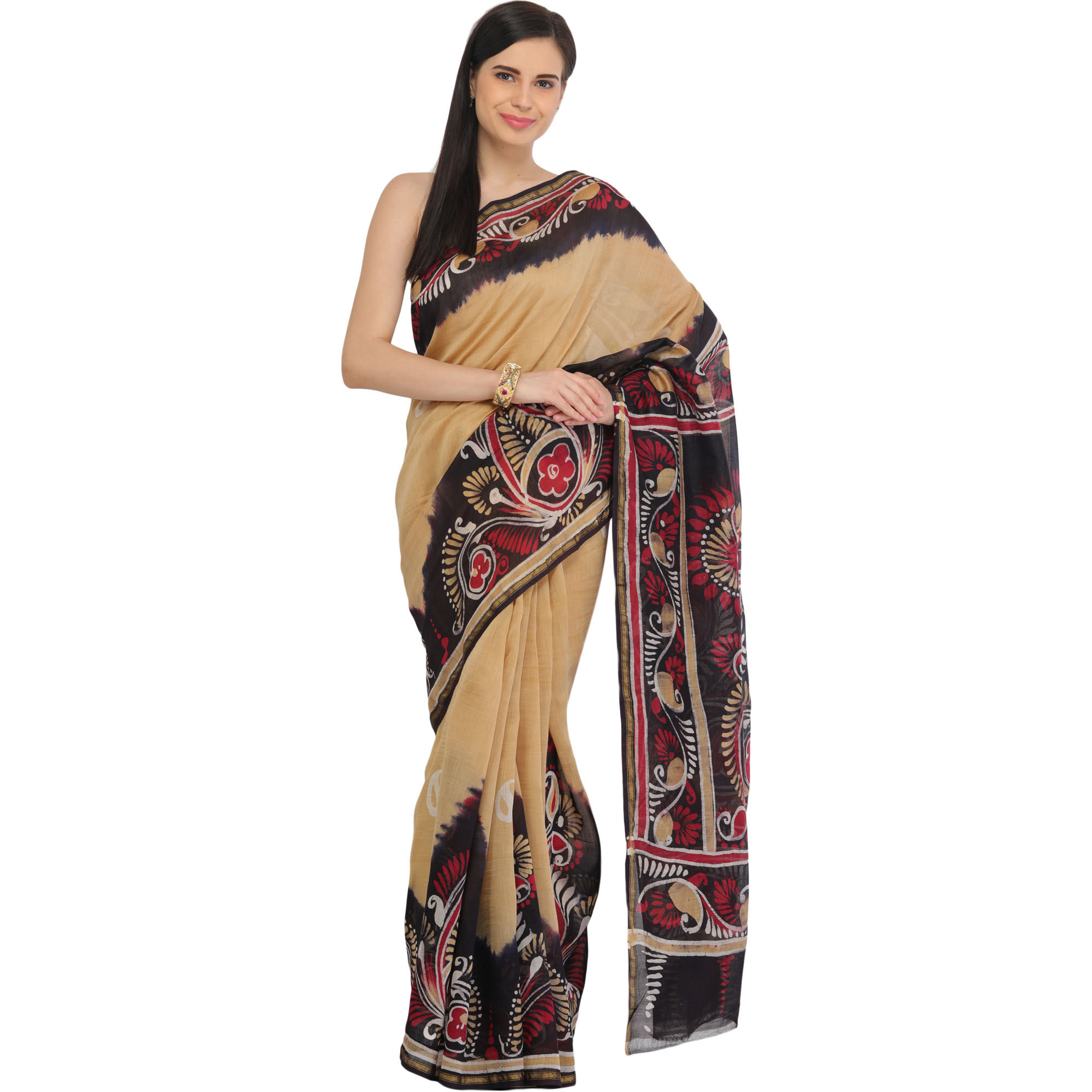 Italian-Straw and Black Batik Printed Sari from Madhya Pradesh with Paisleys on Border