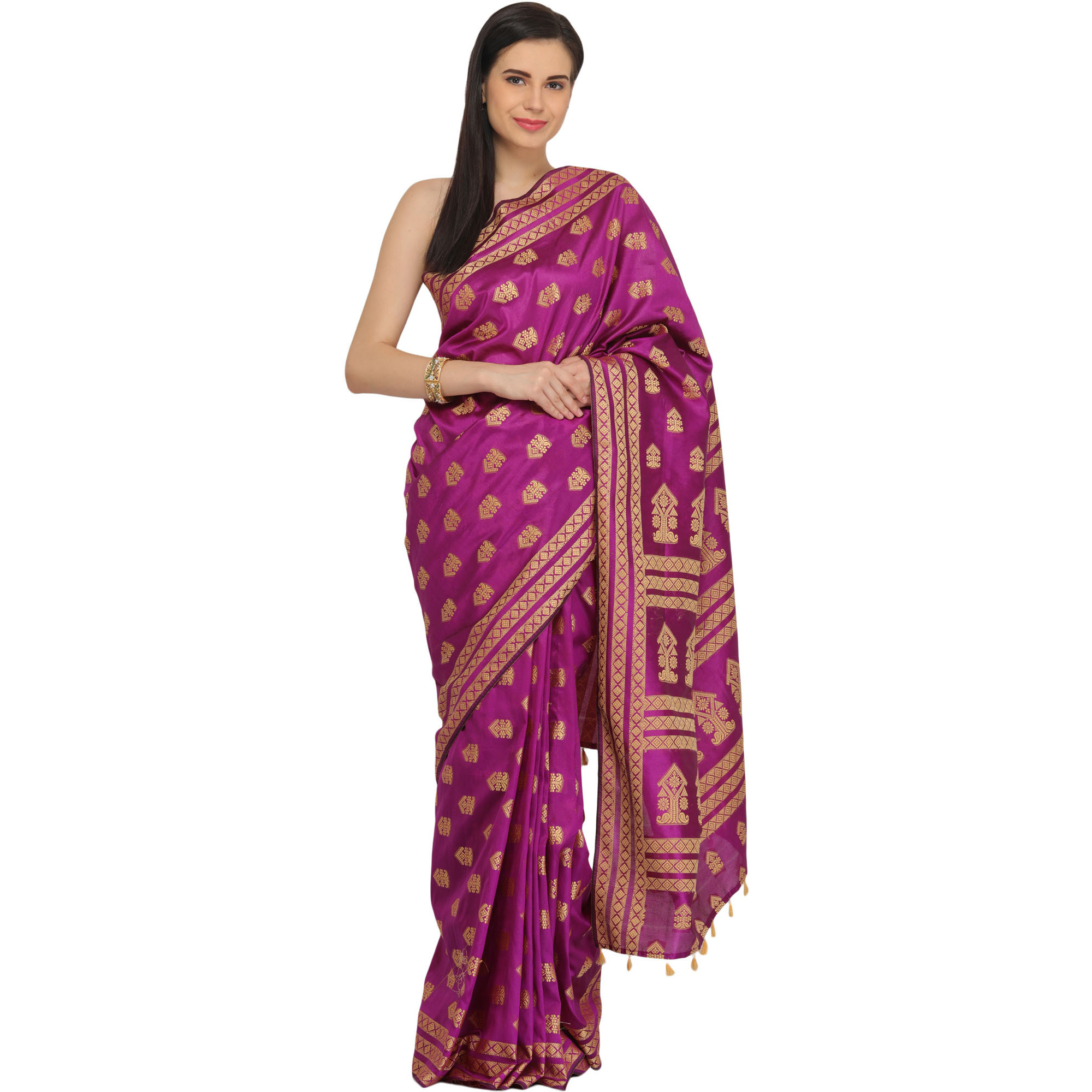 Deep-Orchid Sari from Assam with Woven Bootis