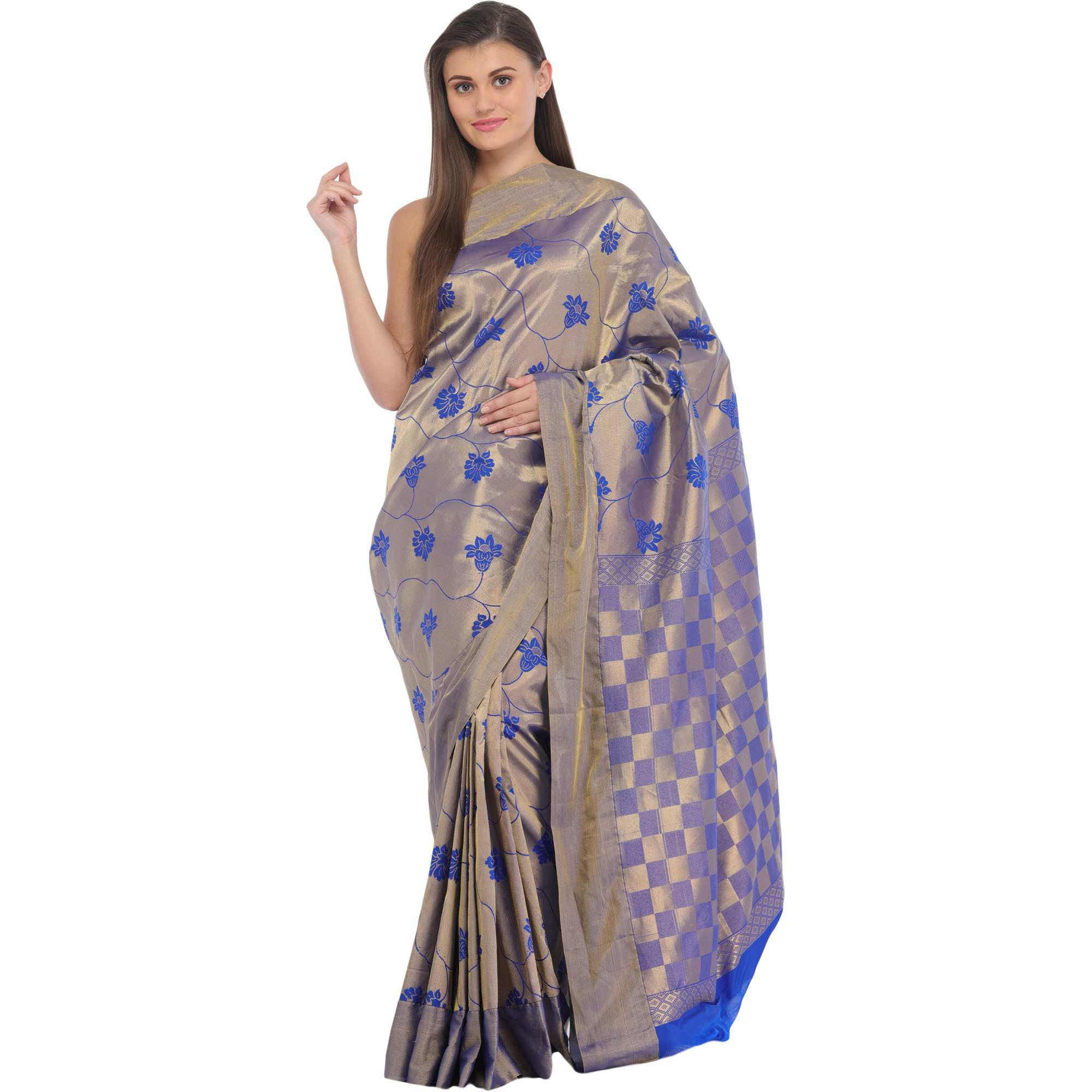 Metallic and Blue Brocaded Sari from Bangalore with Woven Flowers and Checks Weave on Pallu