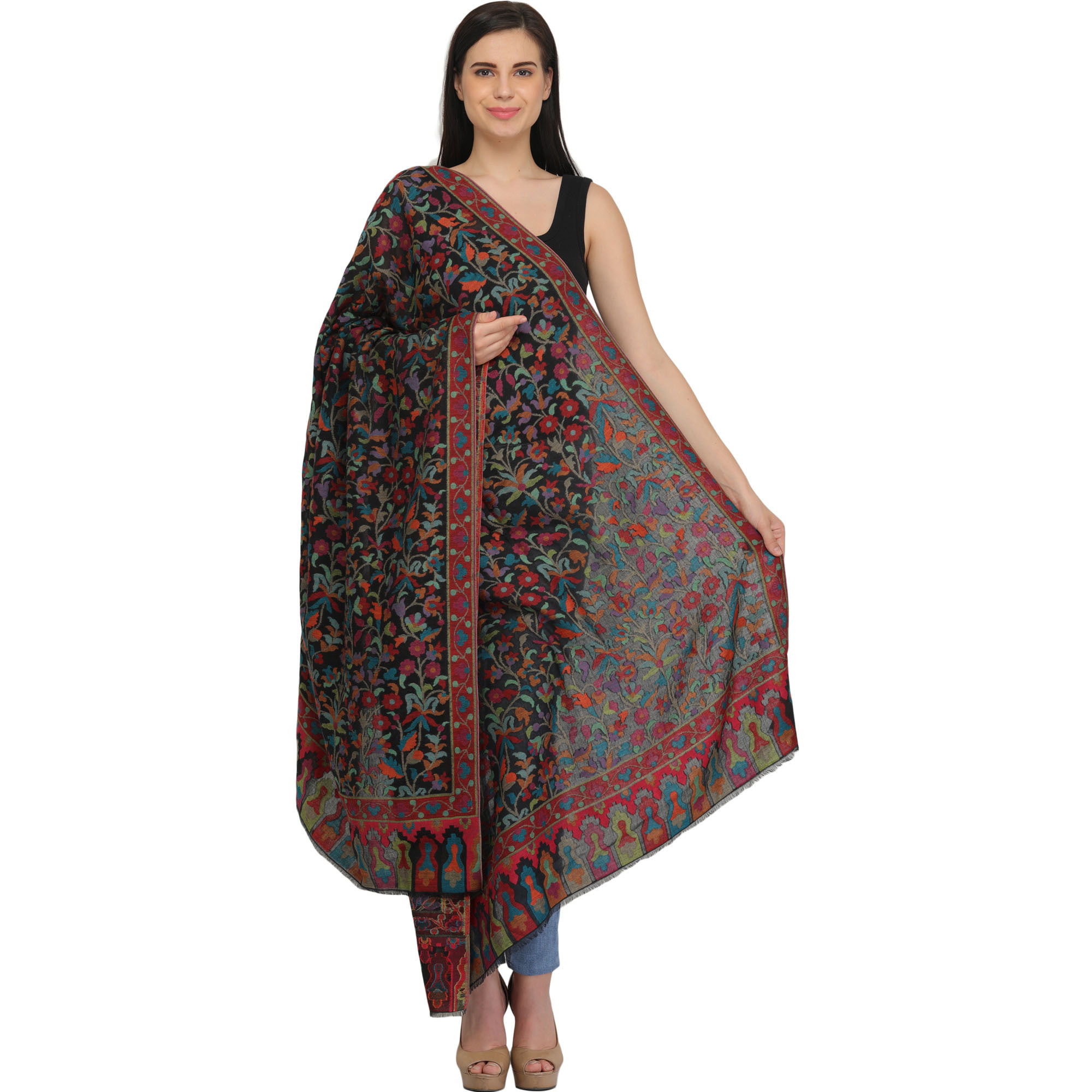 Kani Jamawar Shawl with Floral Weave in Multicolor Thread