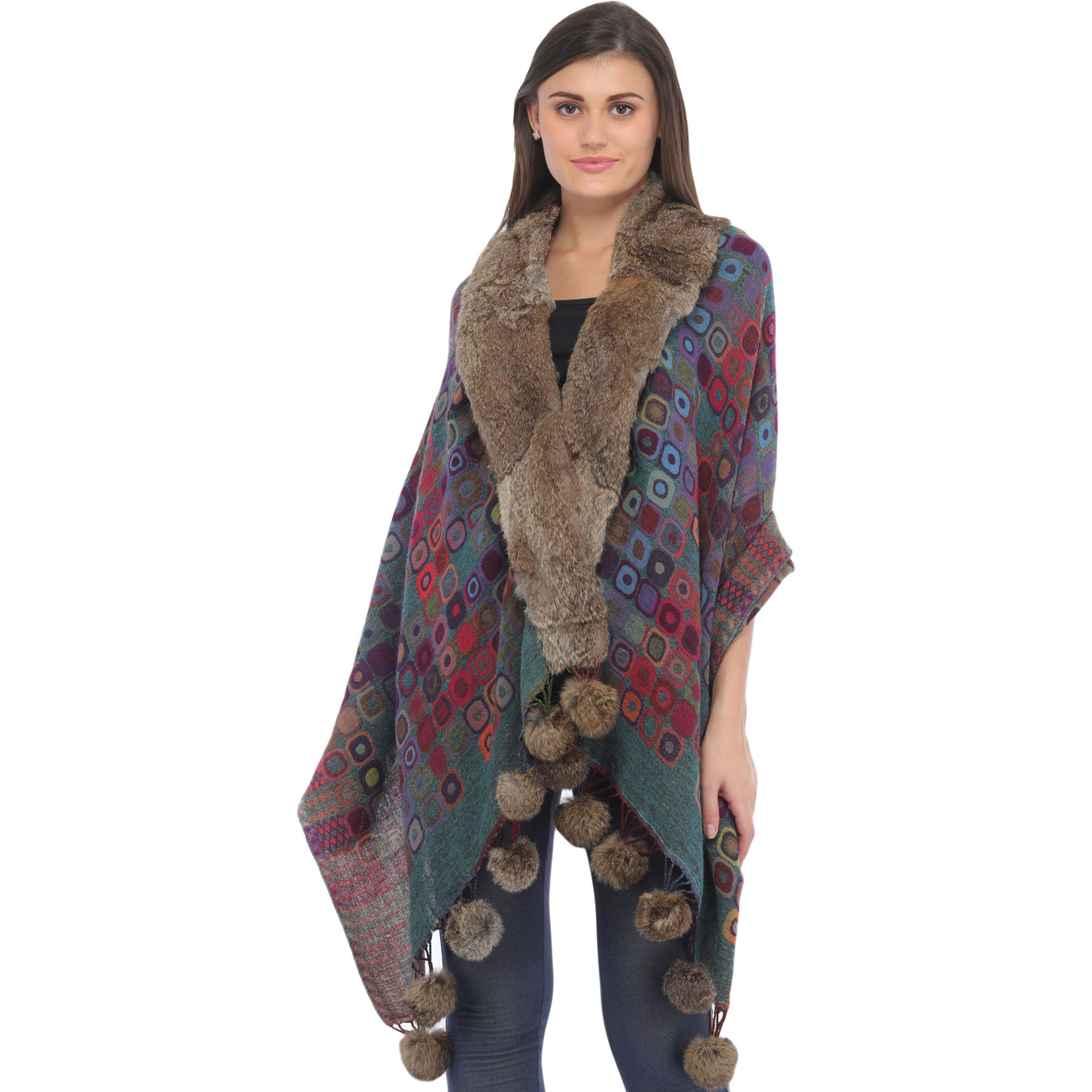 Multicolored Jamawar Wrap with Faux-Fur Collar