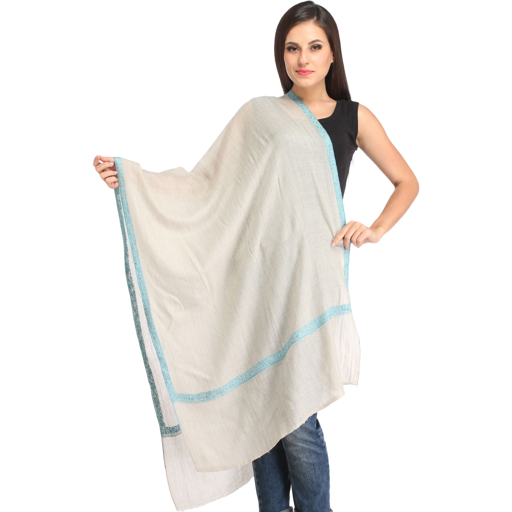 Light-Gray Plain Cashmere Stole from Kashmir with Sozni Hand-Embroidery on Border