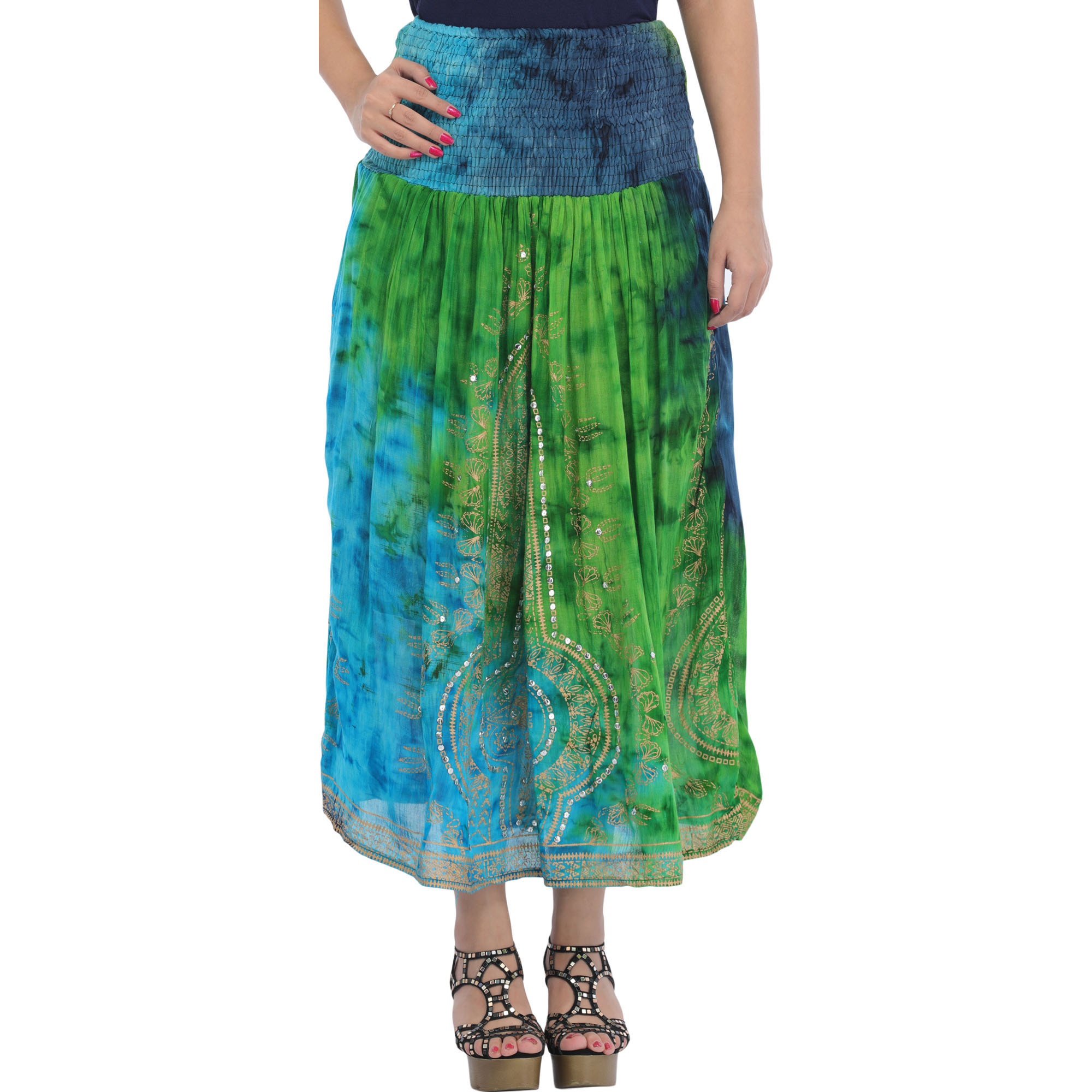 Long Printed Skirt with Embroidered-Sequins and Wide Elastic Waist