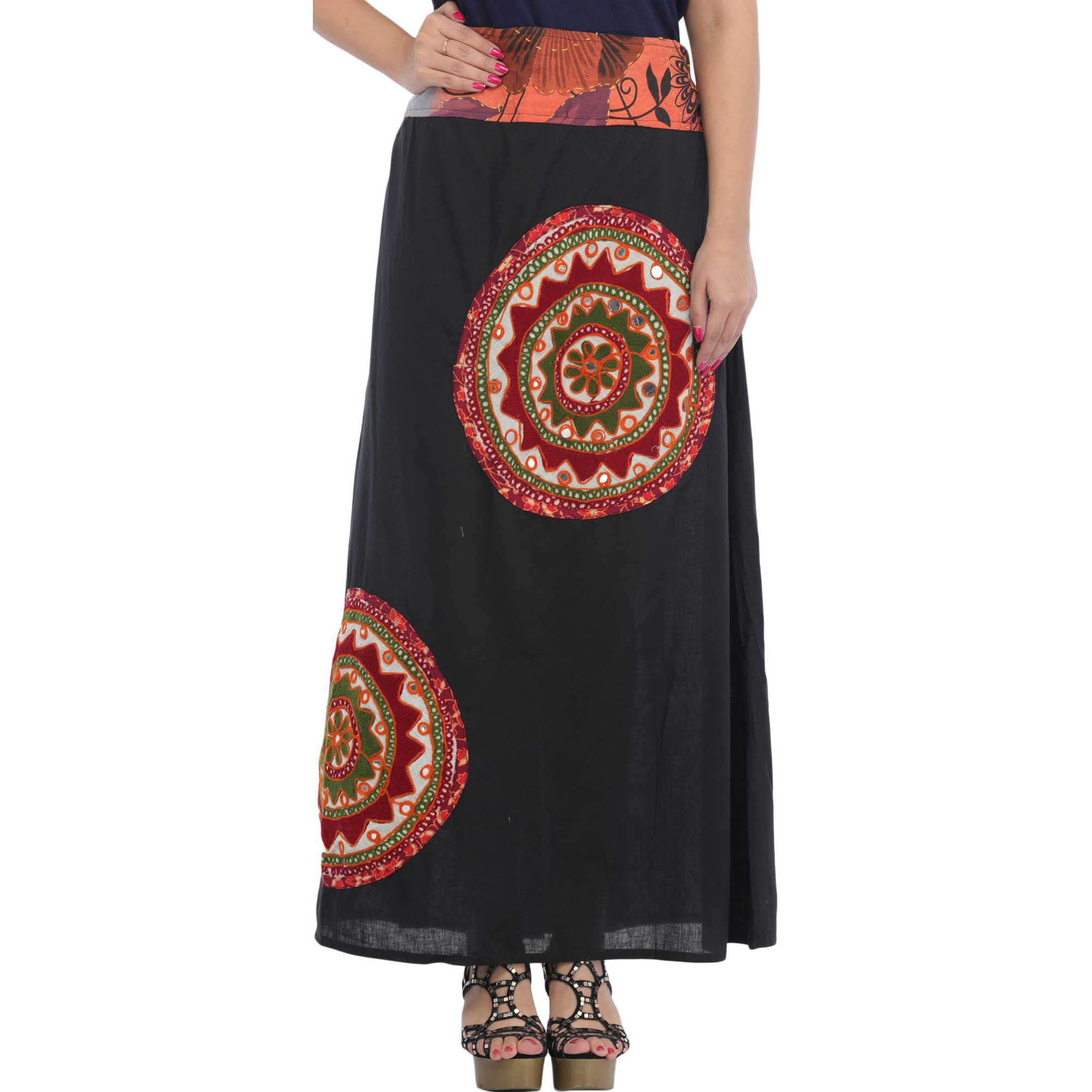 Long Skirt with Applique-Work and Mirrors
