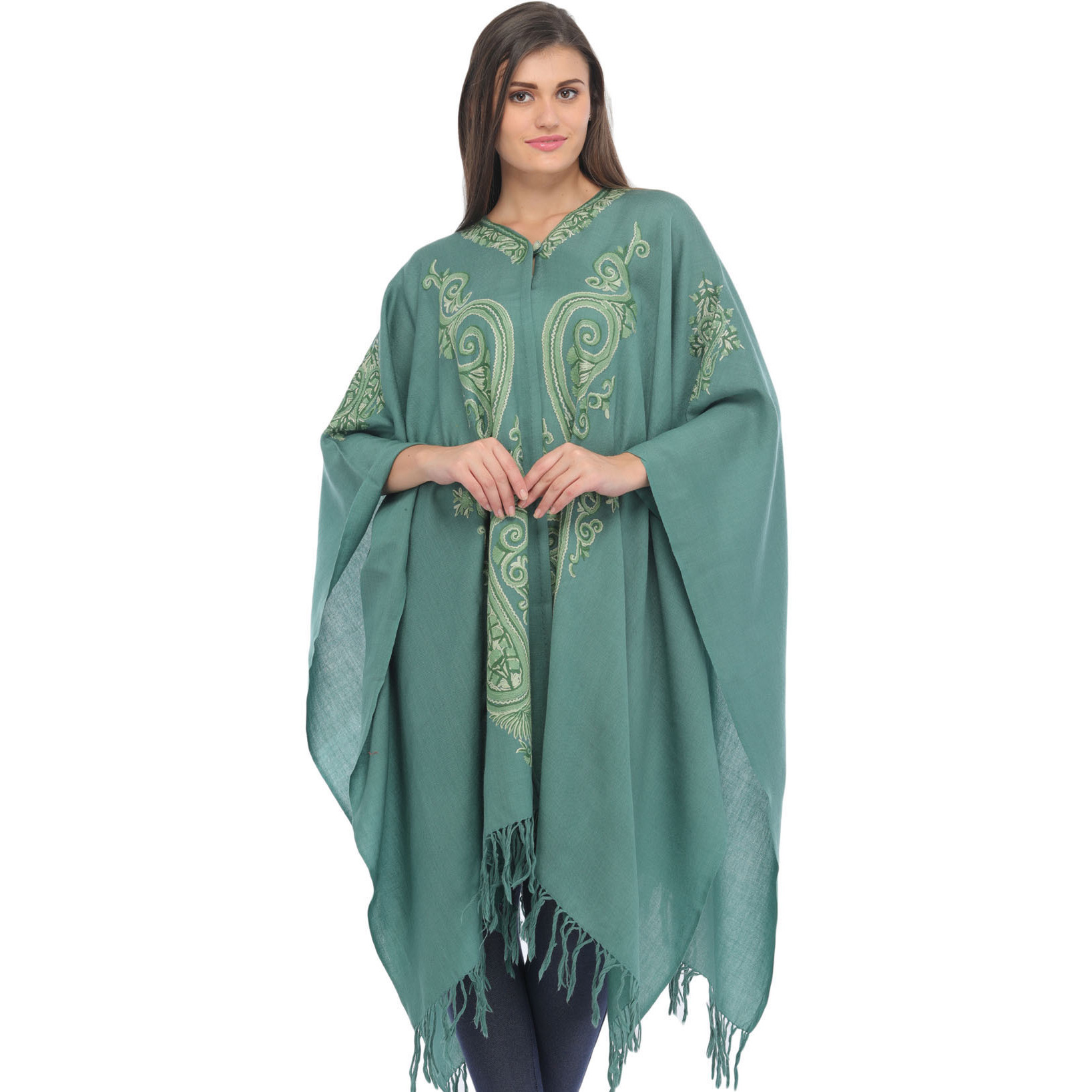 Beryl-Green Cape from Kashmir with Ari Hand-Embroidered Paisleys