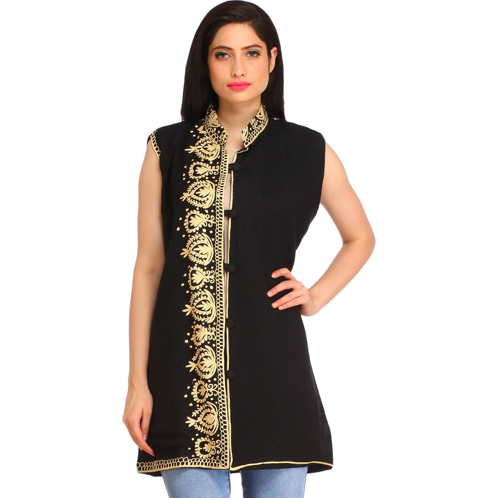 Jet-Black Ari Embroidered Jacket from Amritsar
