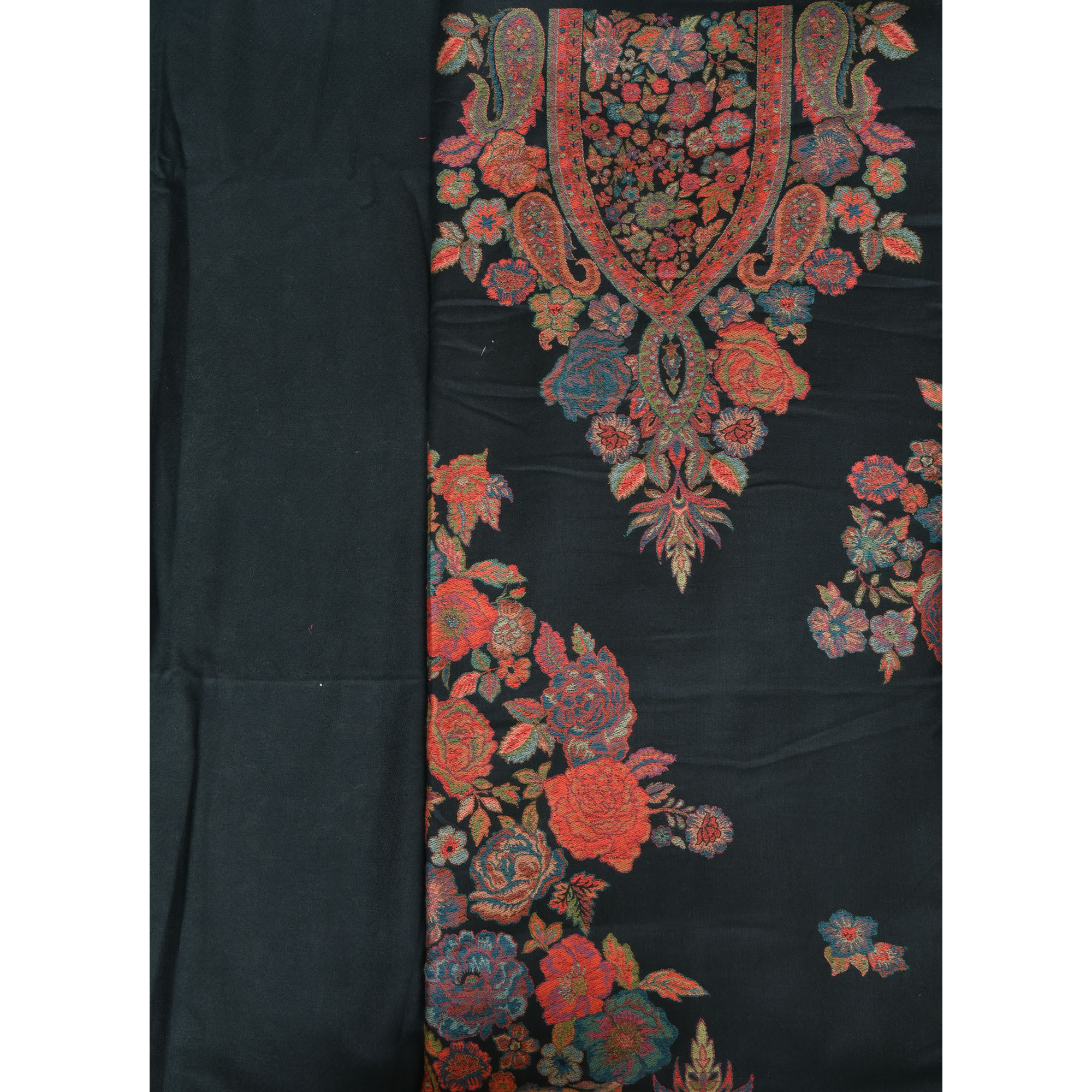 Jet-Black Kani Jamawar Salwar Kameez Fabric with Woven Flowers
