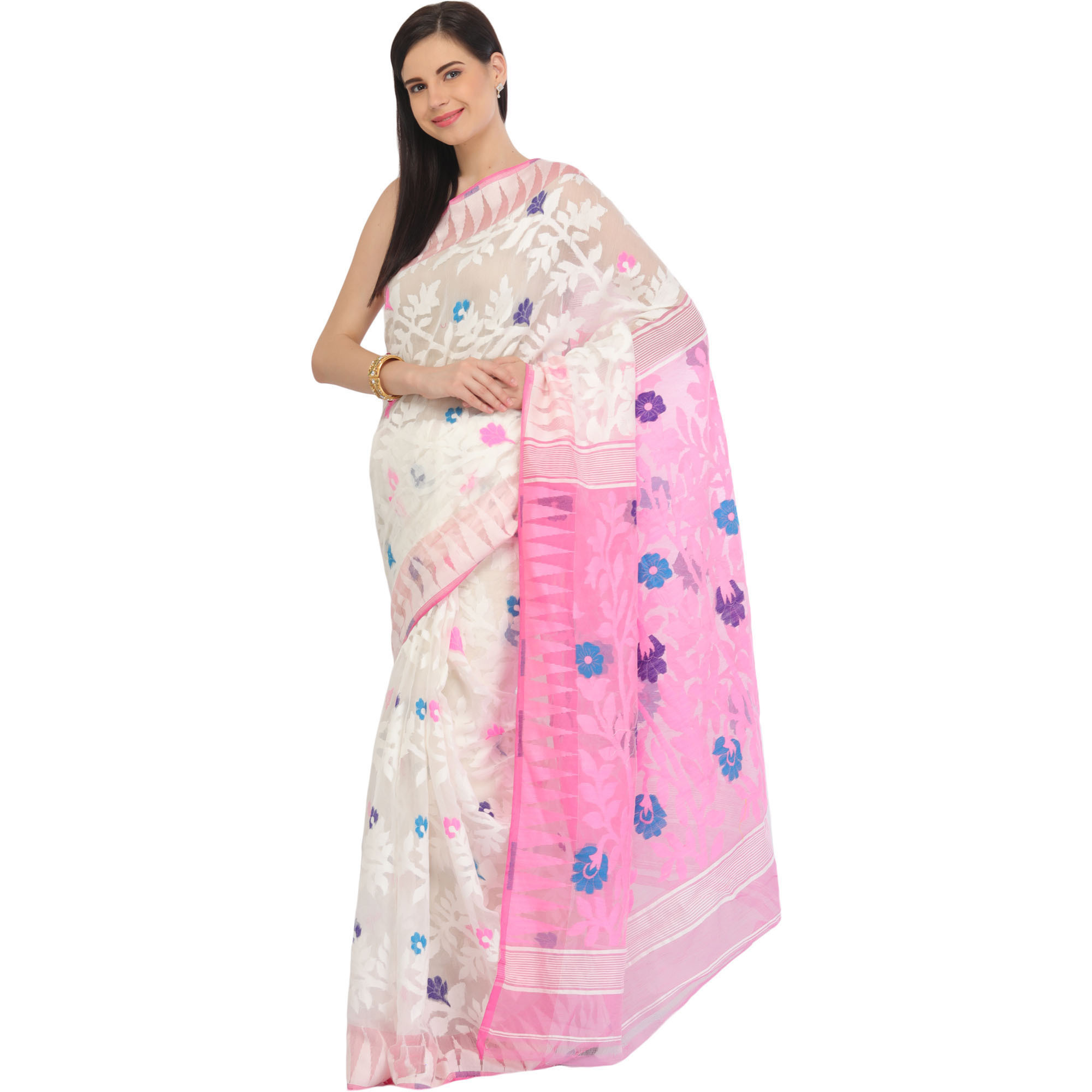 White and Pink Jamdani Sari from Bangladesh with Hand-woven Flowers and Temple Border
