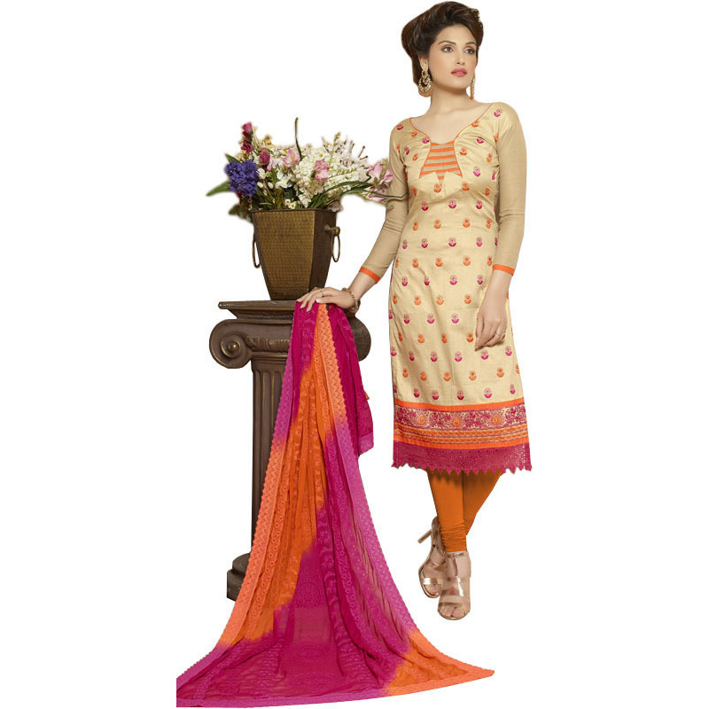Biscotti and Orange Long Choodidaar Kameez Suit with Embroidered Bootis and Crochet Border