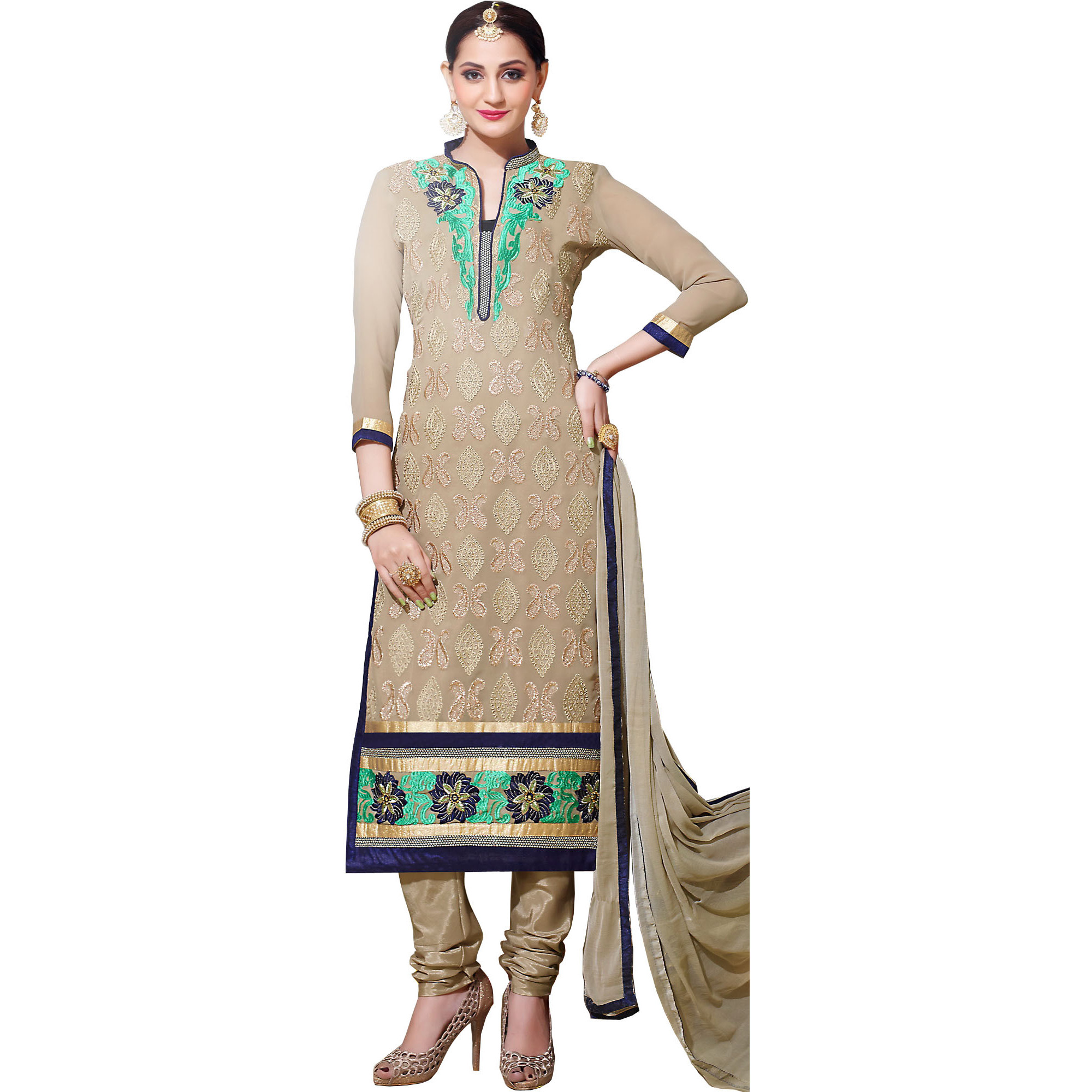 Oyster-Gray Long Choodidaar Kameez Suit with Embroidery All-Over