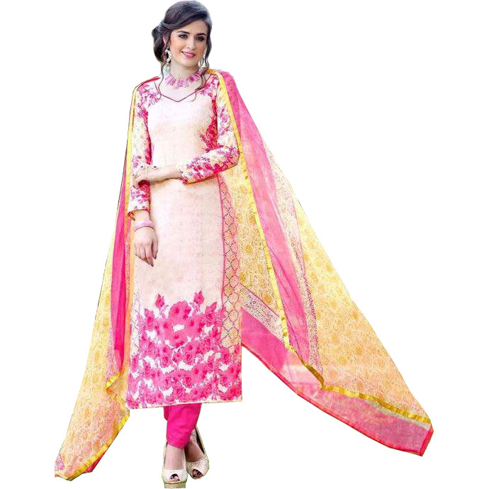 Pink and Yellow Long Choodidaar Kameez Suit with Floral Print and Chiffon Dupatta