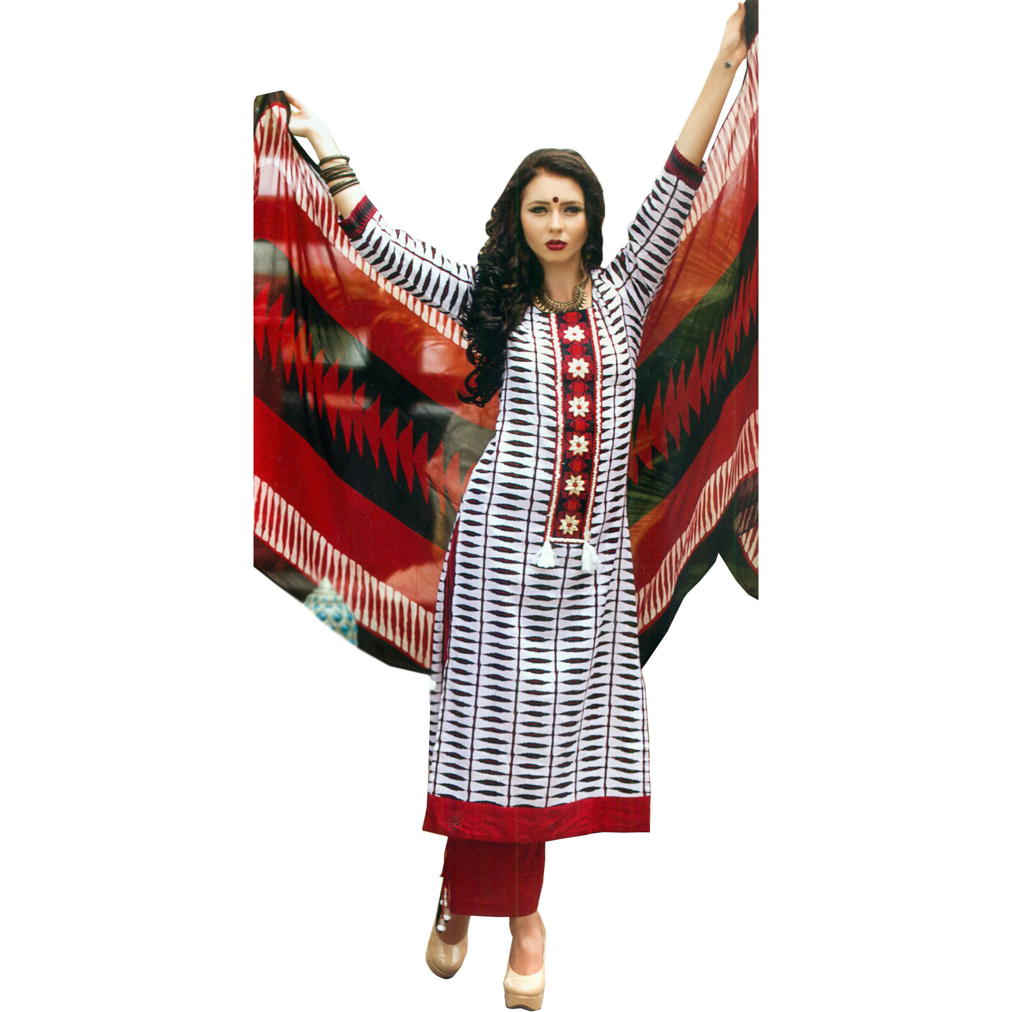 White and Red Ikat-Printed Parallel Salwar Suit with Embroidered Patch on Neck