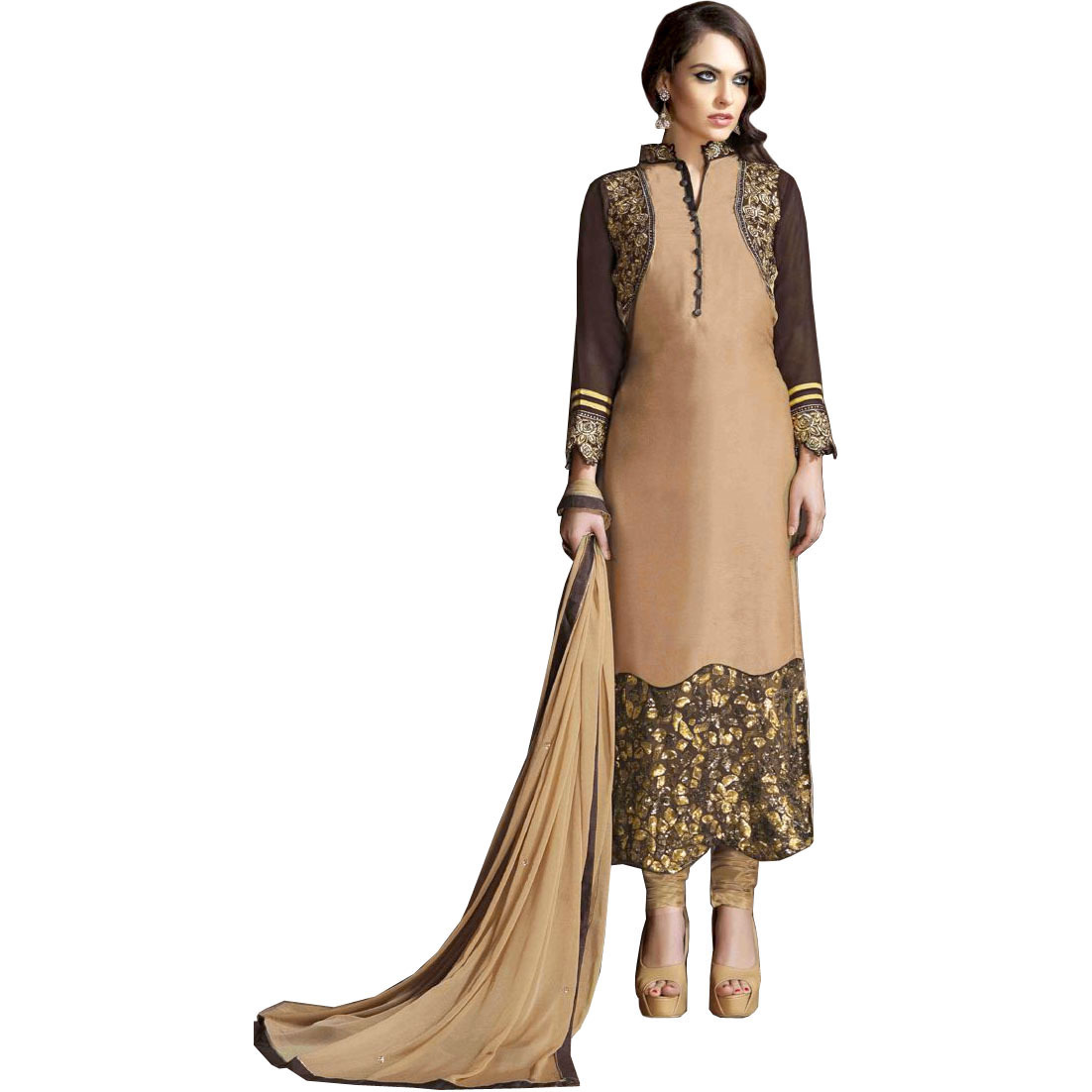 Beige and Brown Designer Long Choodidaar Kameez Suit with Zari-Embroidery and Dense Sequins on Border