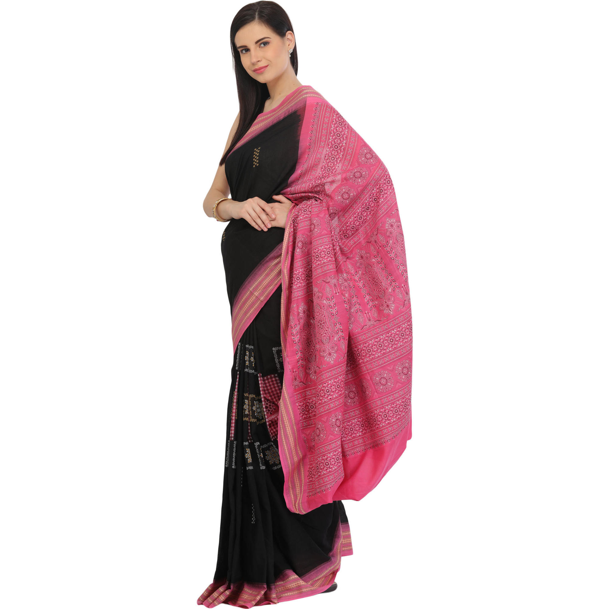 Black and Pink Bomkai Sari from Orissa with Dense Weave on Pallu and Rudraksha Border