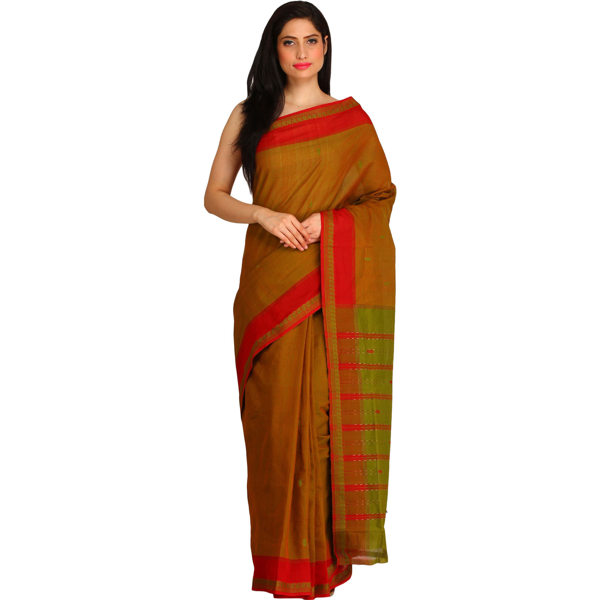Bronze-Brown Sari with Woven Paisleys on Border and Striped Pallu