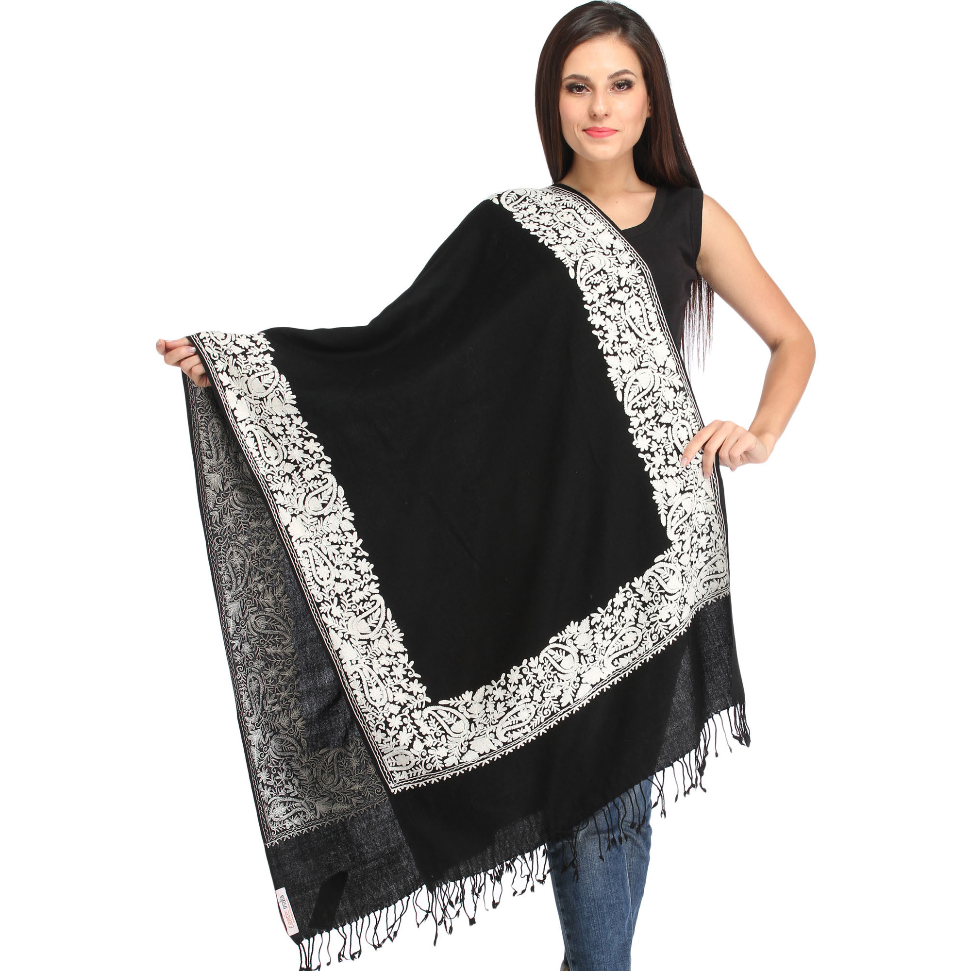 Plain Stole from Amritsar with Ari-Embroidered Paisleys on Border