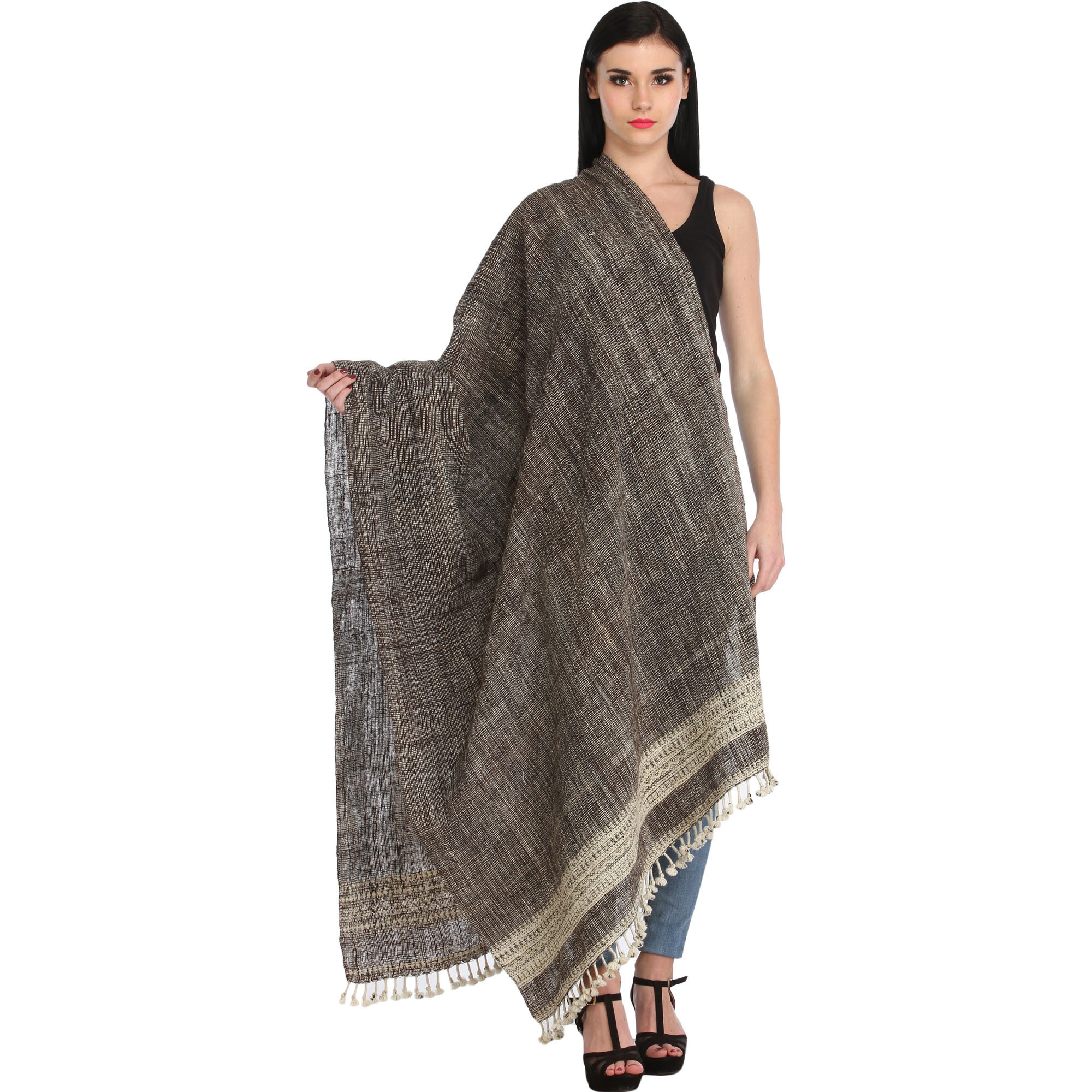 Black Shawl from Kutch with Thread Weave All-Over and Woven Border