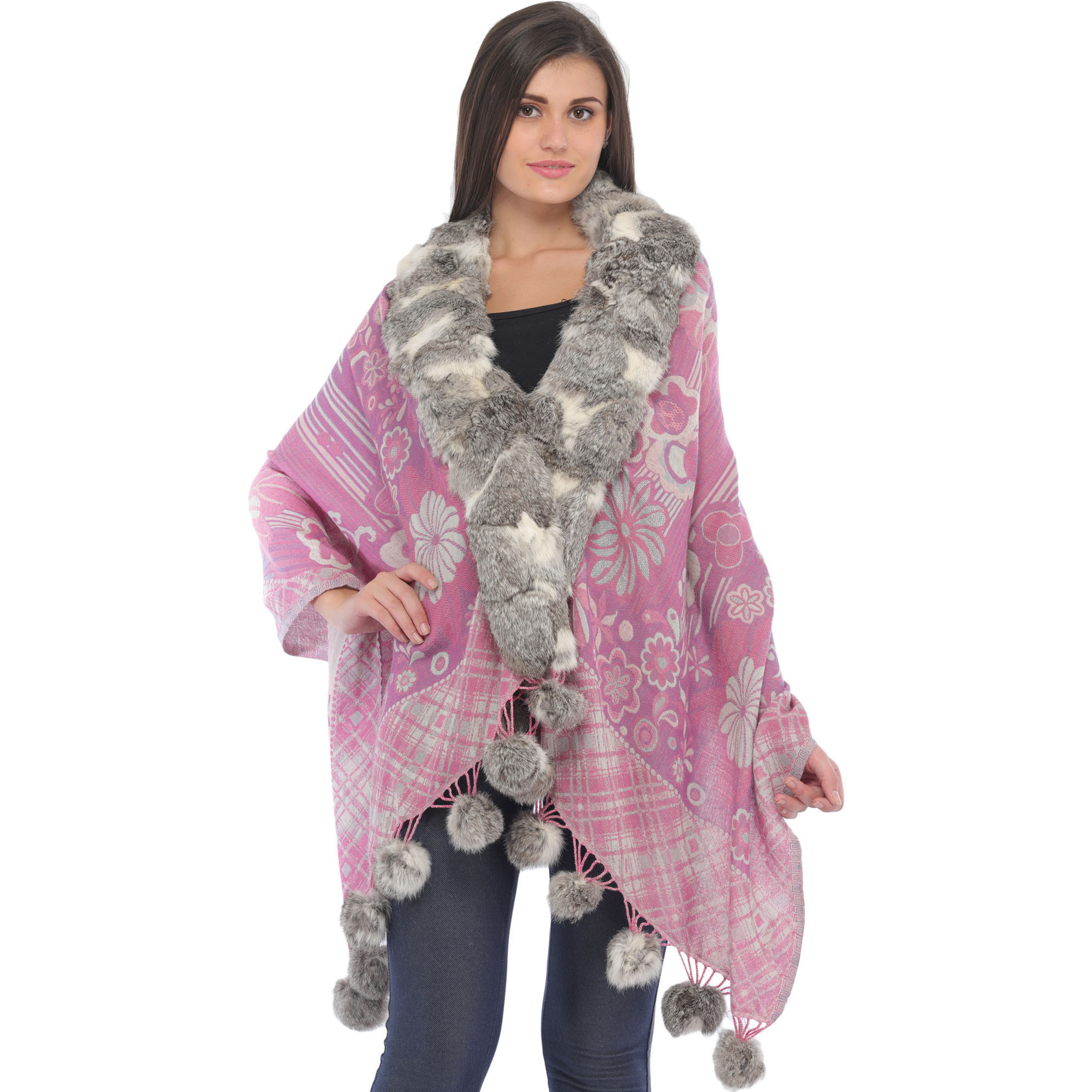 Lavender-Herb Jamawar Wrap with Faux-Fur Collar and Woven Flowers