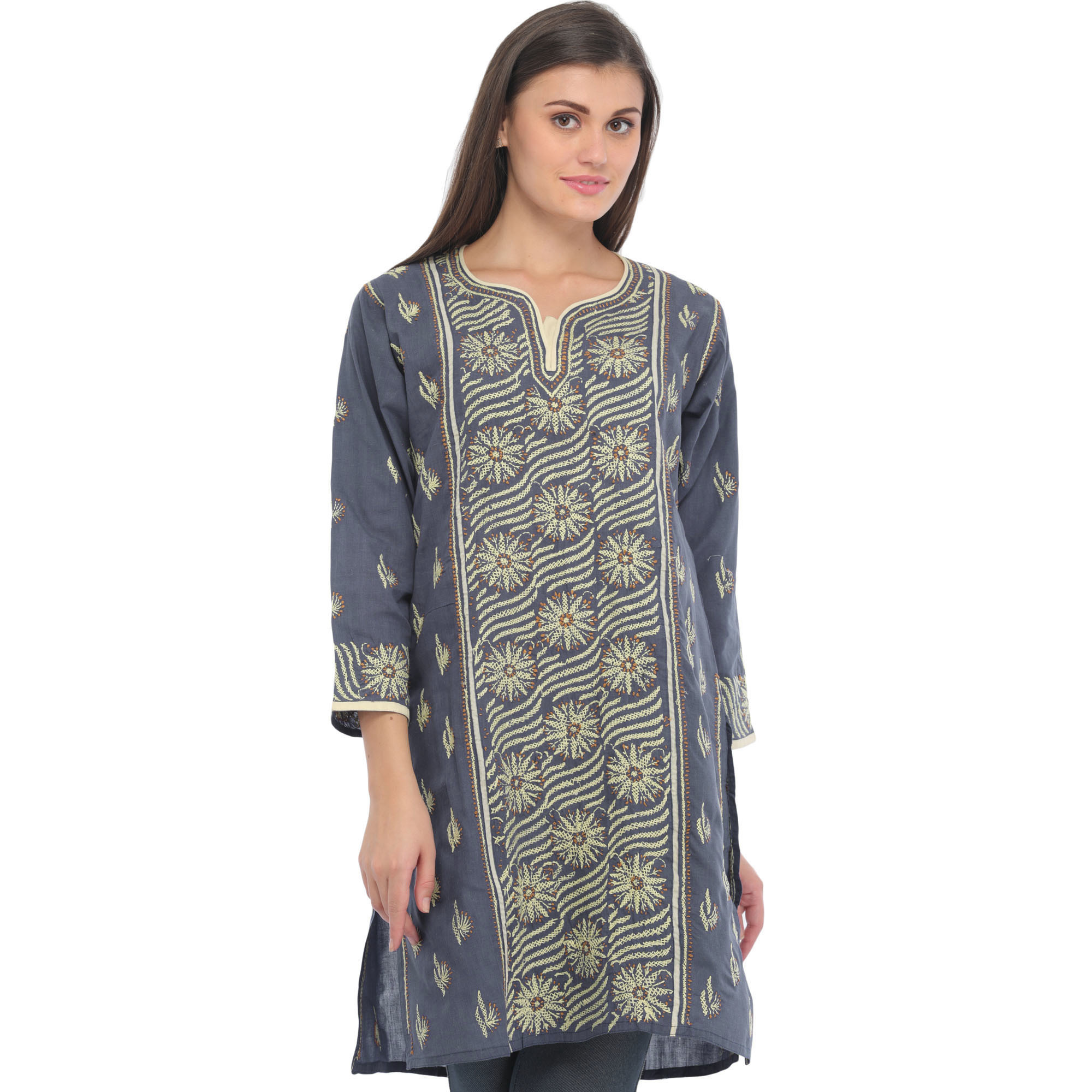 Blue-Indigo Kurti from Lucknow with Chikan Hand-Embroidery
