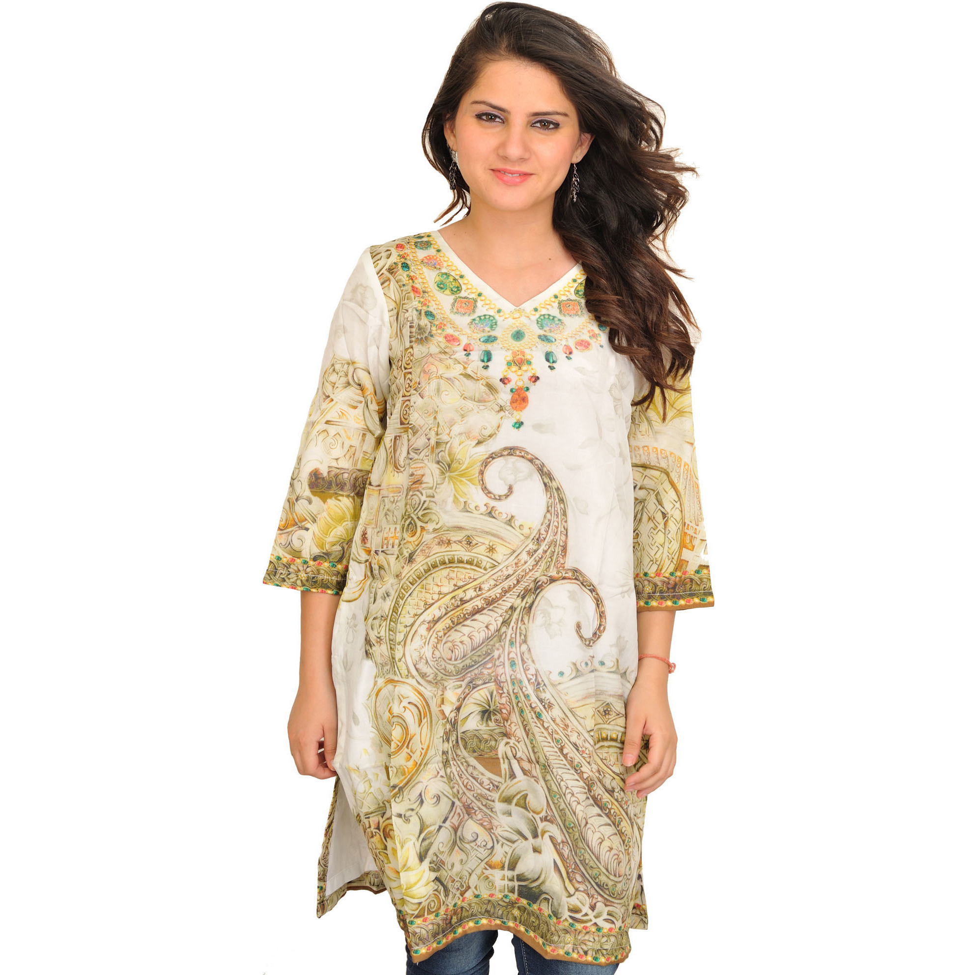 Whisper-Green Digital Printed Kurti with Paisleys
