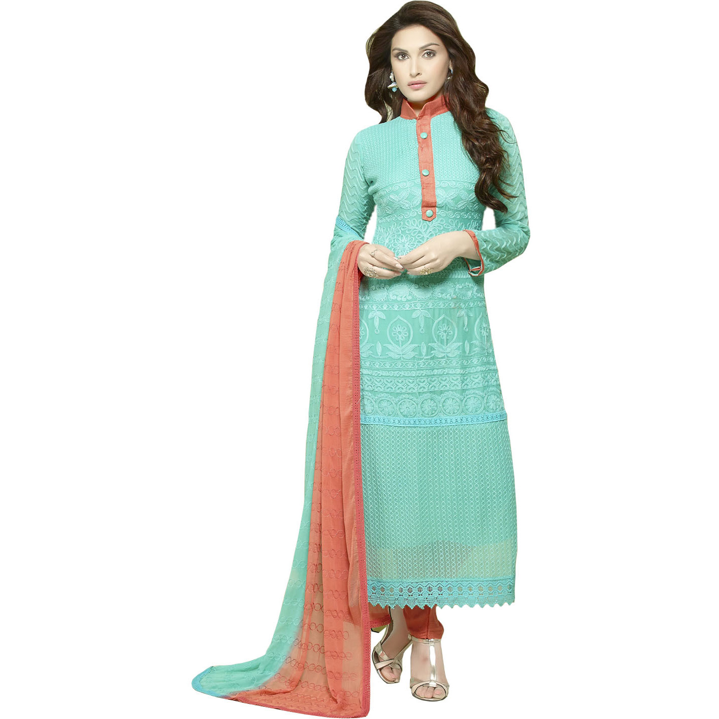 Aruba-Blue and Camellia Long Choodidaar Kameez Suit with Embroidery in Self and Crochet Border