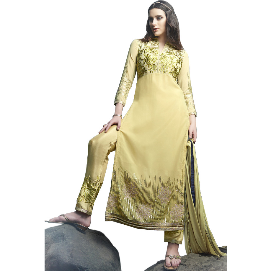 Dried-Moss Long Choodidaar Kameez Suit with Embroidered Roses and Sequins