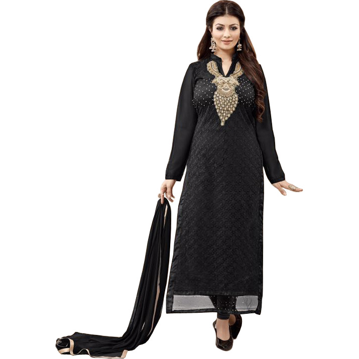 Jet-Black Ayesha Long Choodidaar Kameez Suit with Chikan-Embroidery in Self and Zardozi-Patch