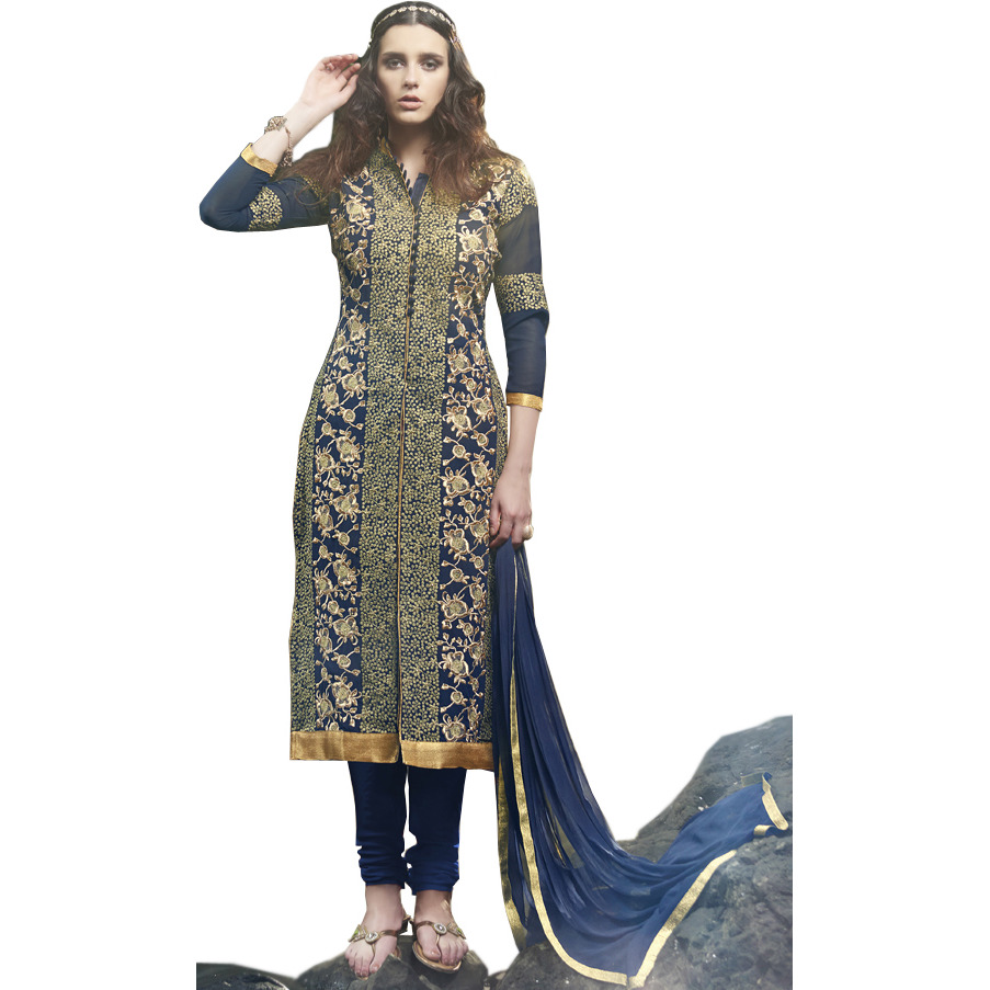 Patriot-Blue Long Choodidaar Kameez Suit with Embroidery All-Over and Crystals