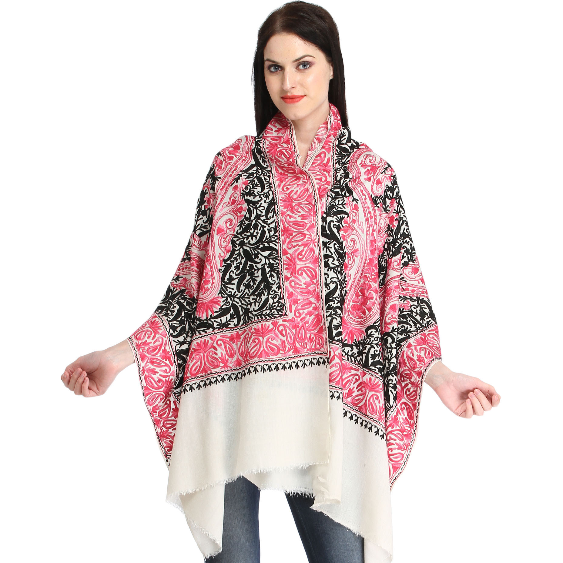 Off-White Stole from Kashmir with Ari-Embroidered Paisleys in Pink and Black Thread