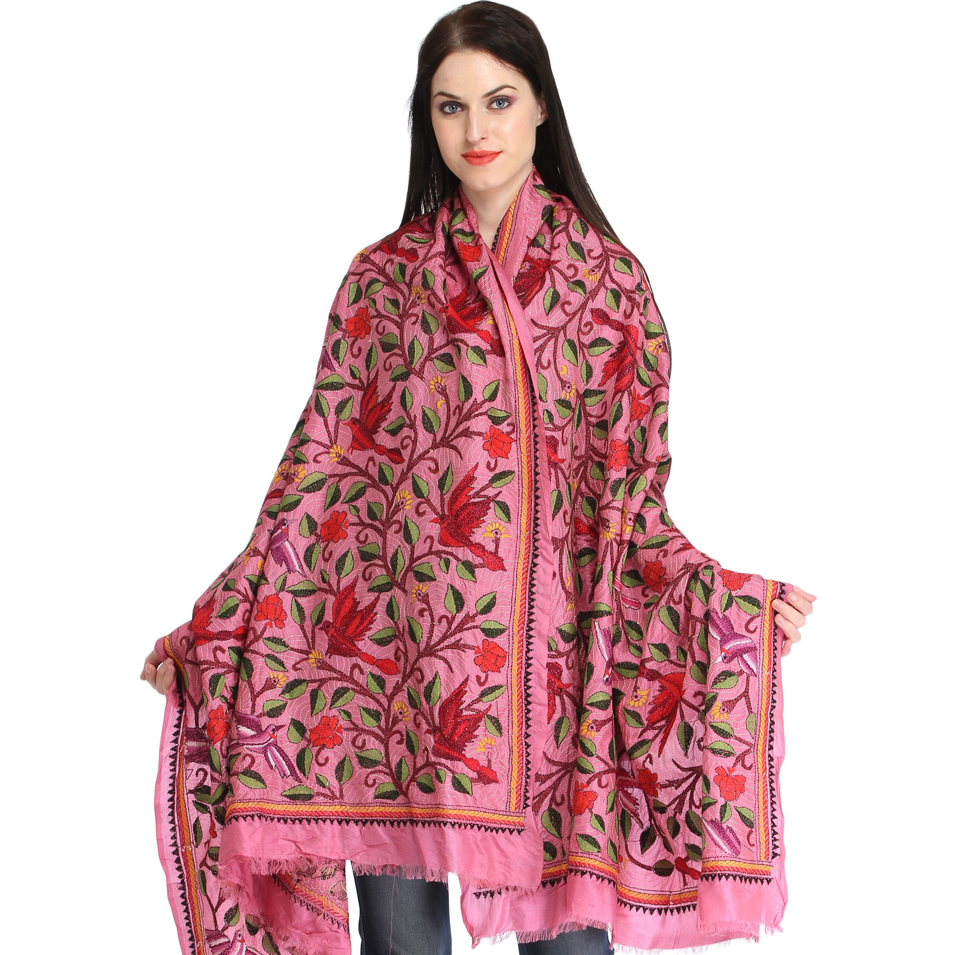 Aurora-Pink Kantha Dupatta from Kolkata with Hand-Embroidered Birds