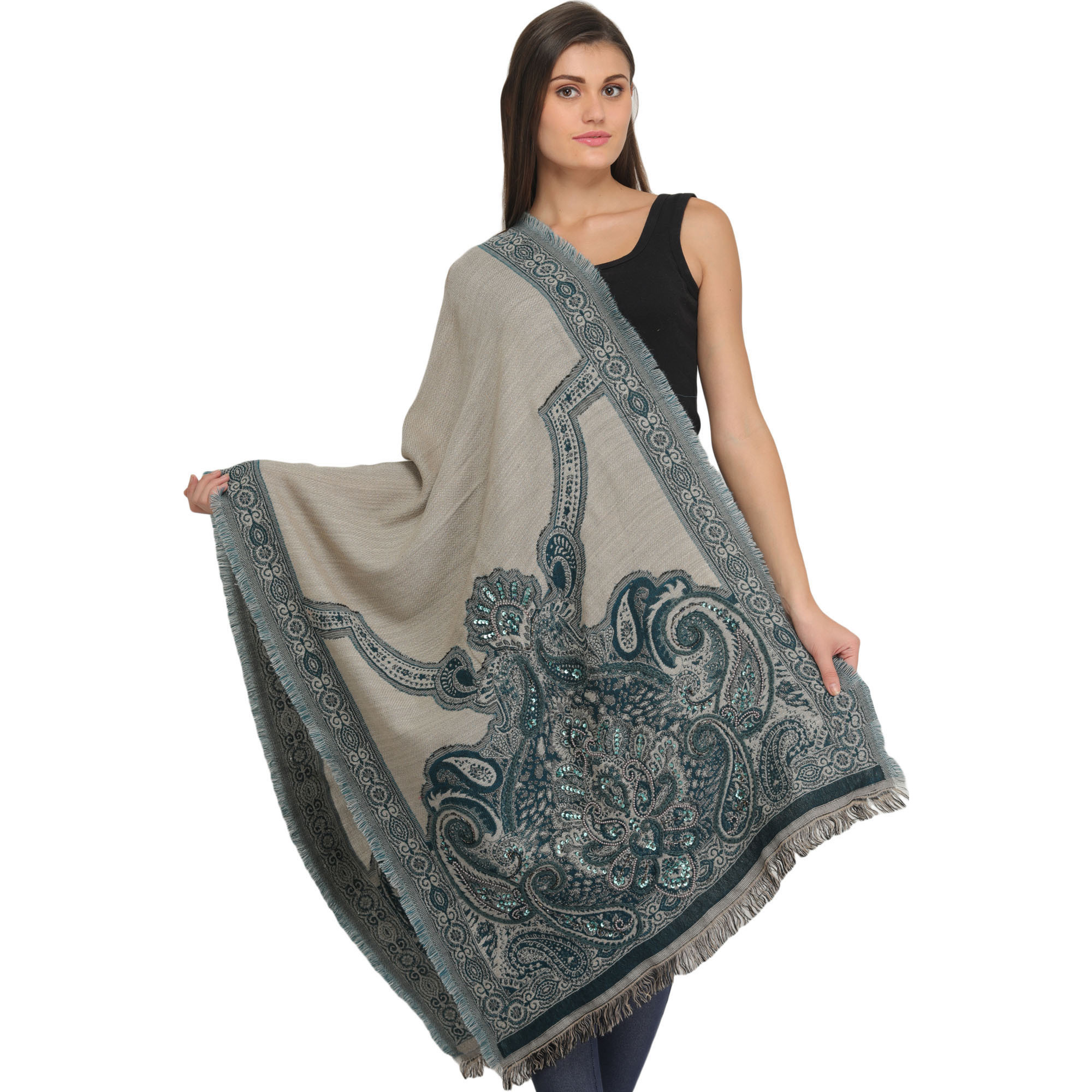 Gray and Blue Jamawar Stole with Embroidered Beads and Sequins