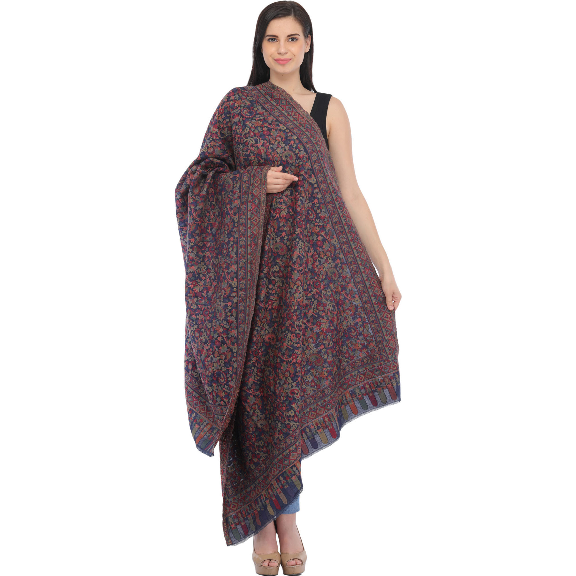 Kani Jamawar Shawl with Floral Weave and Paisleys