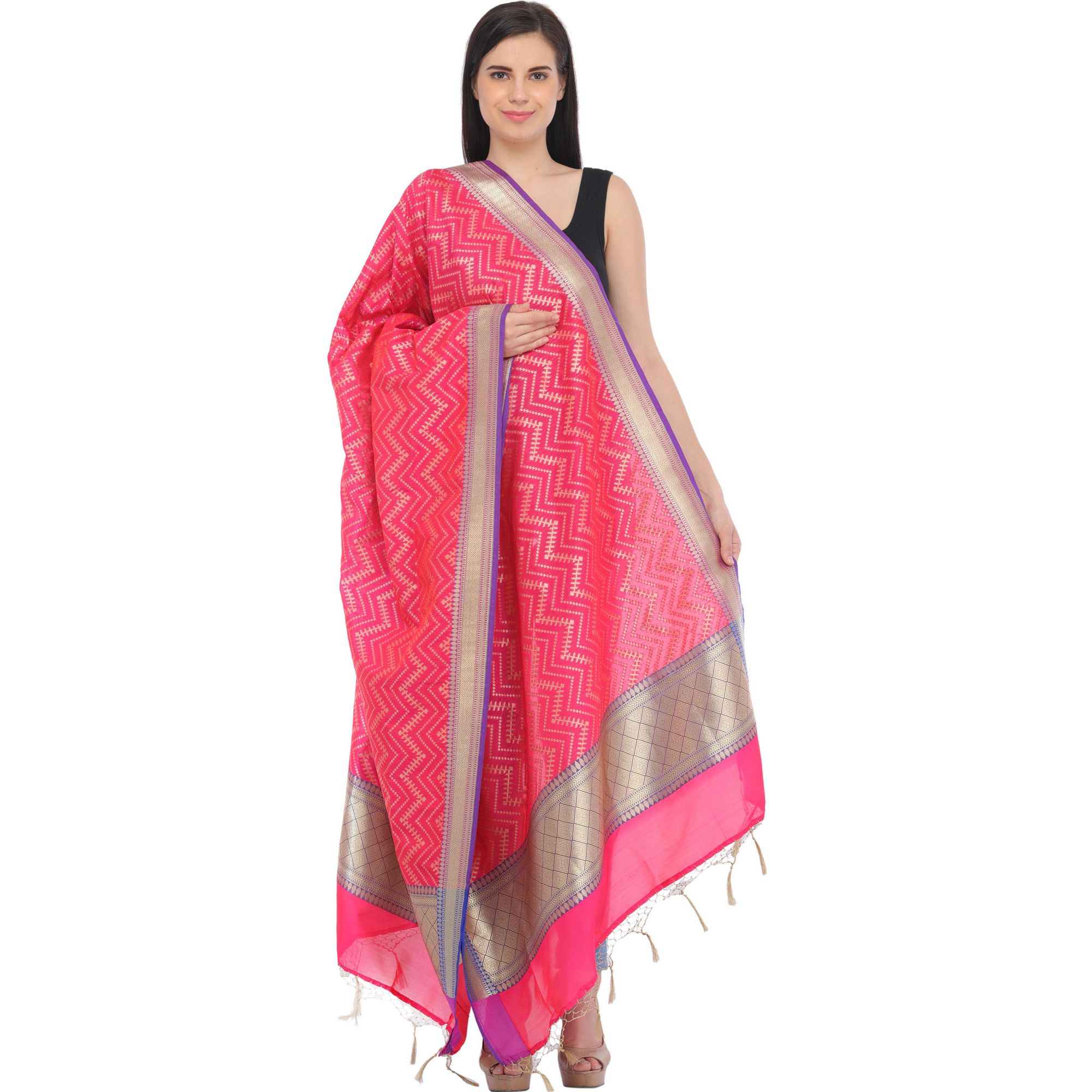 Raspberry-Sorbet Banarasi Brocaded Dupatta with Zigzag Weave and Tassels on Border