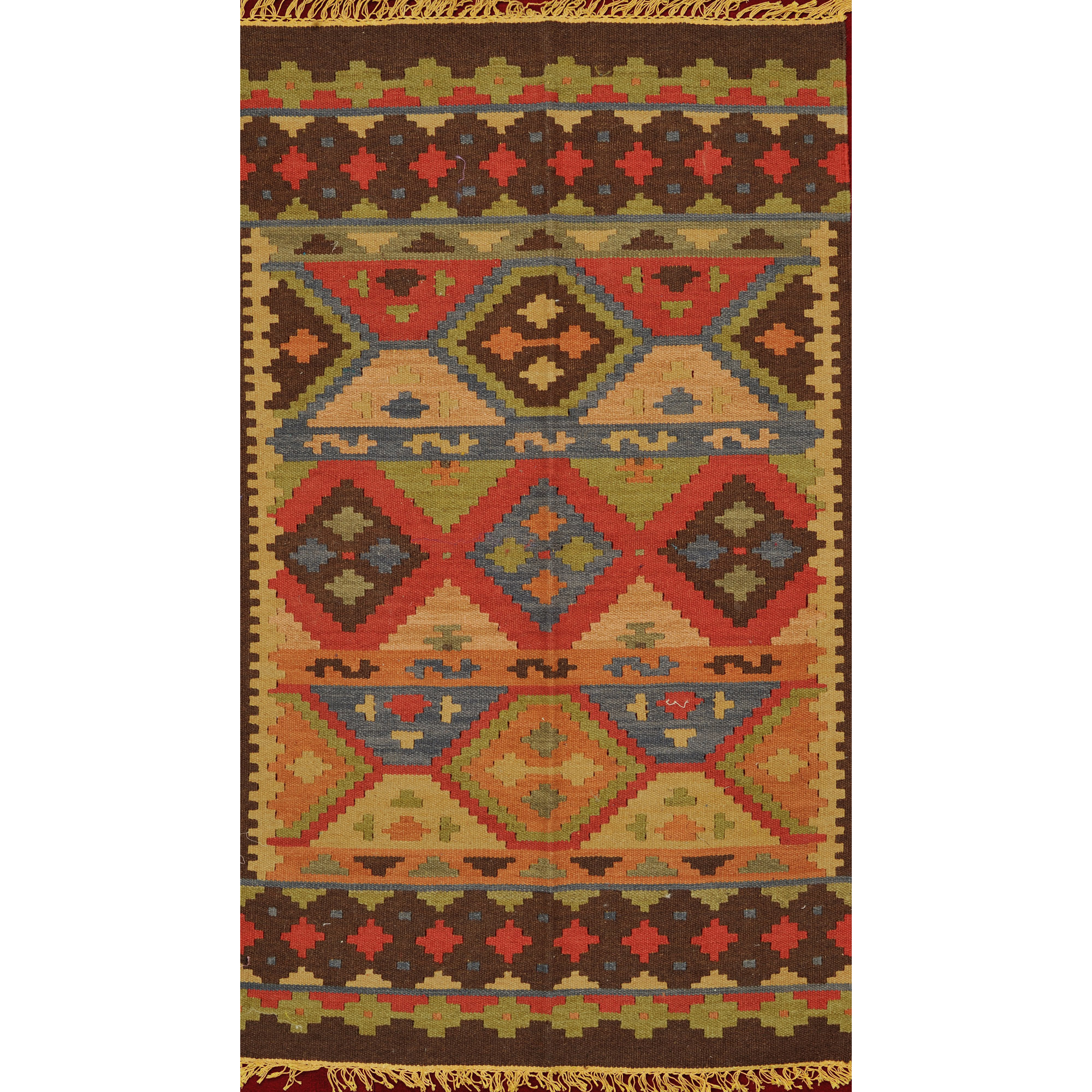 Multicolor Handloom Dhurrie from Sitapur with Kilim Weave All-Over