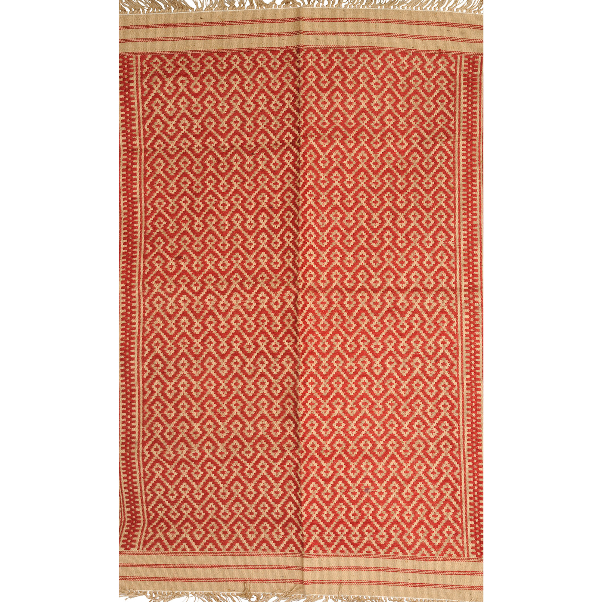 Red and Beige Dhurrie from Karnataka with Thread-Weave