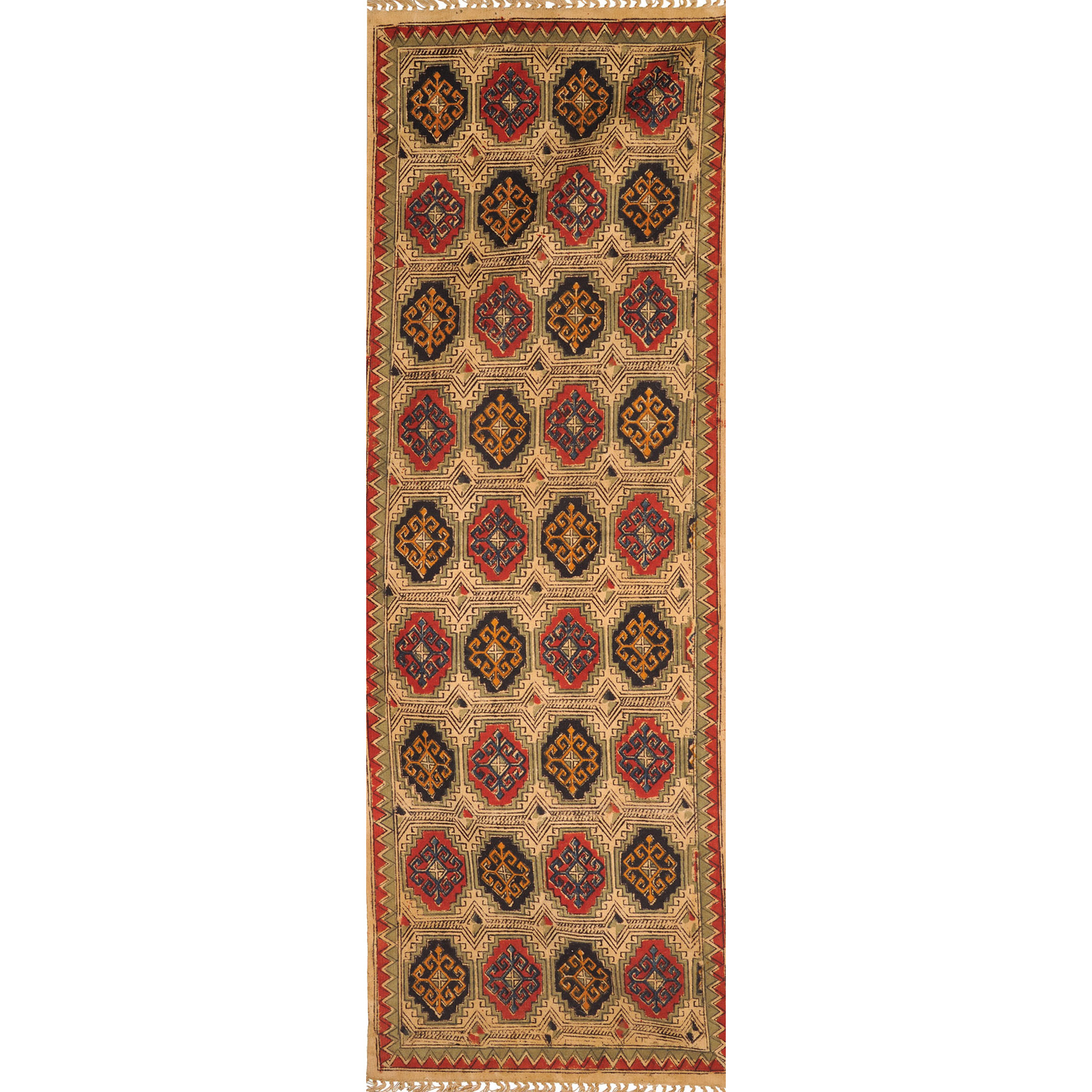 Multicolor Kalamkari Runner from Telangana with Printed Large Bootis