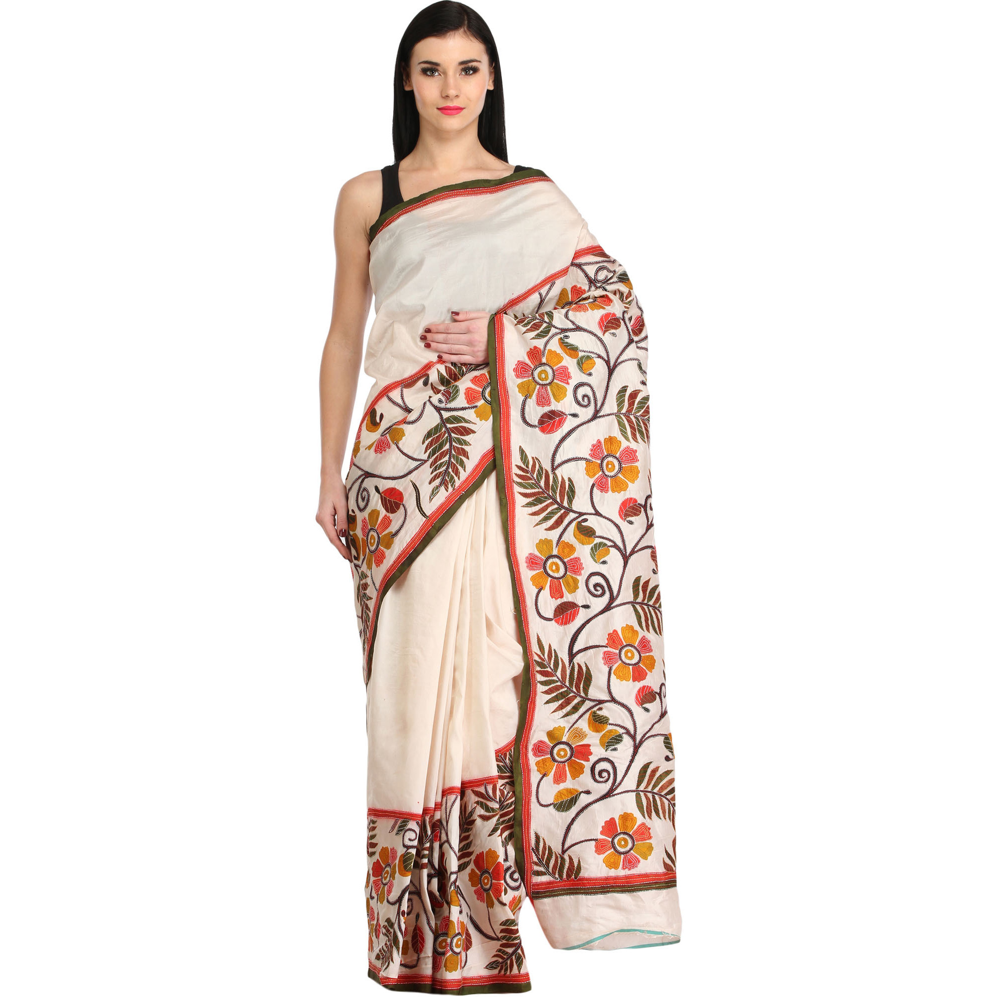 Ivory Sari from Kolkata with Foliage Print and Kantha Hand-Embroidery