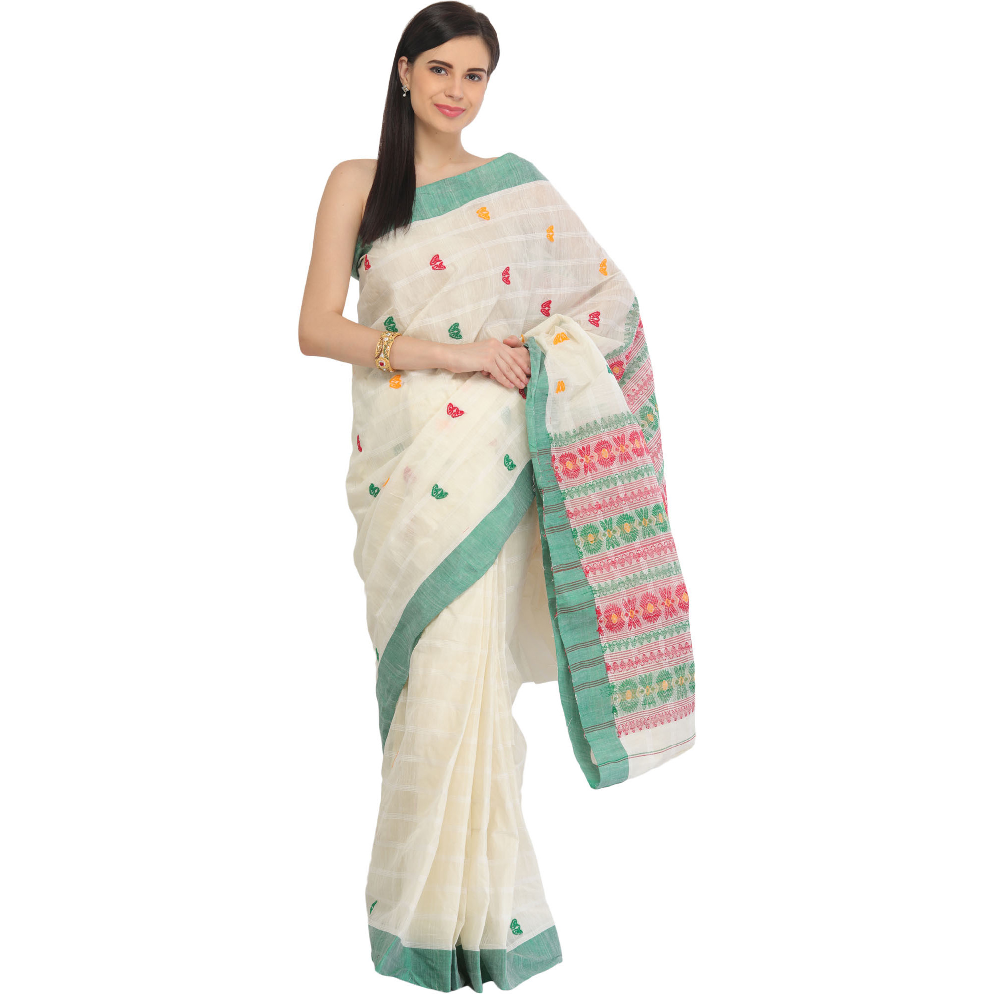 Off-White Tant Sari from Bengal with Woven Bootis and Floral Motifs on Pallu