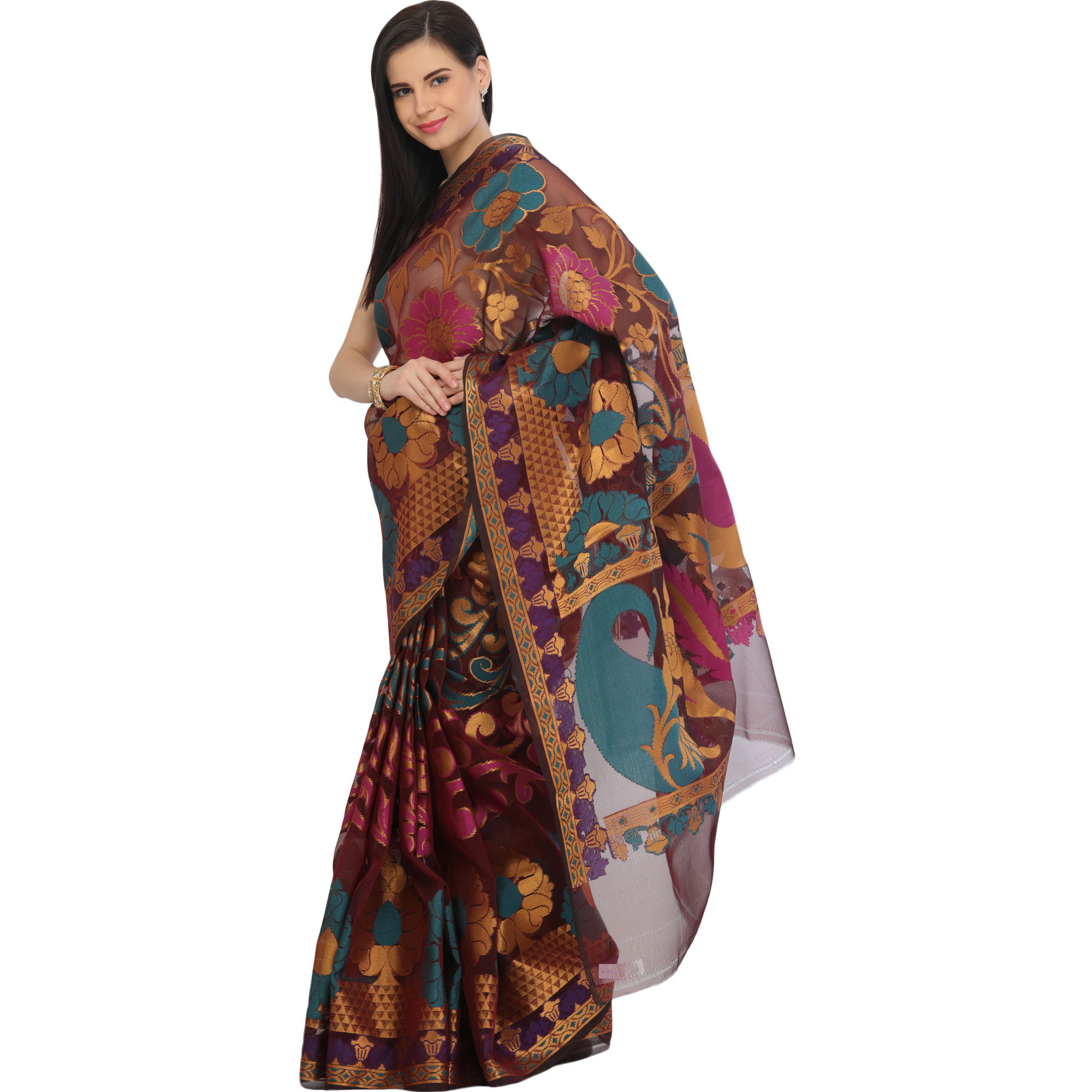 Burgundy Sari from Banaras with Woven Giant Flowers and Paisleys